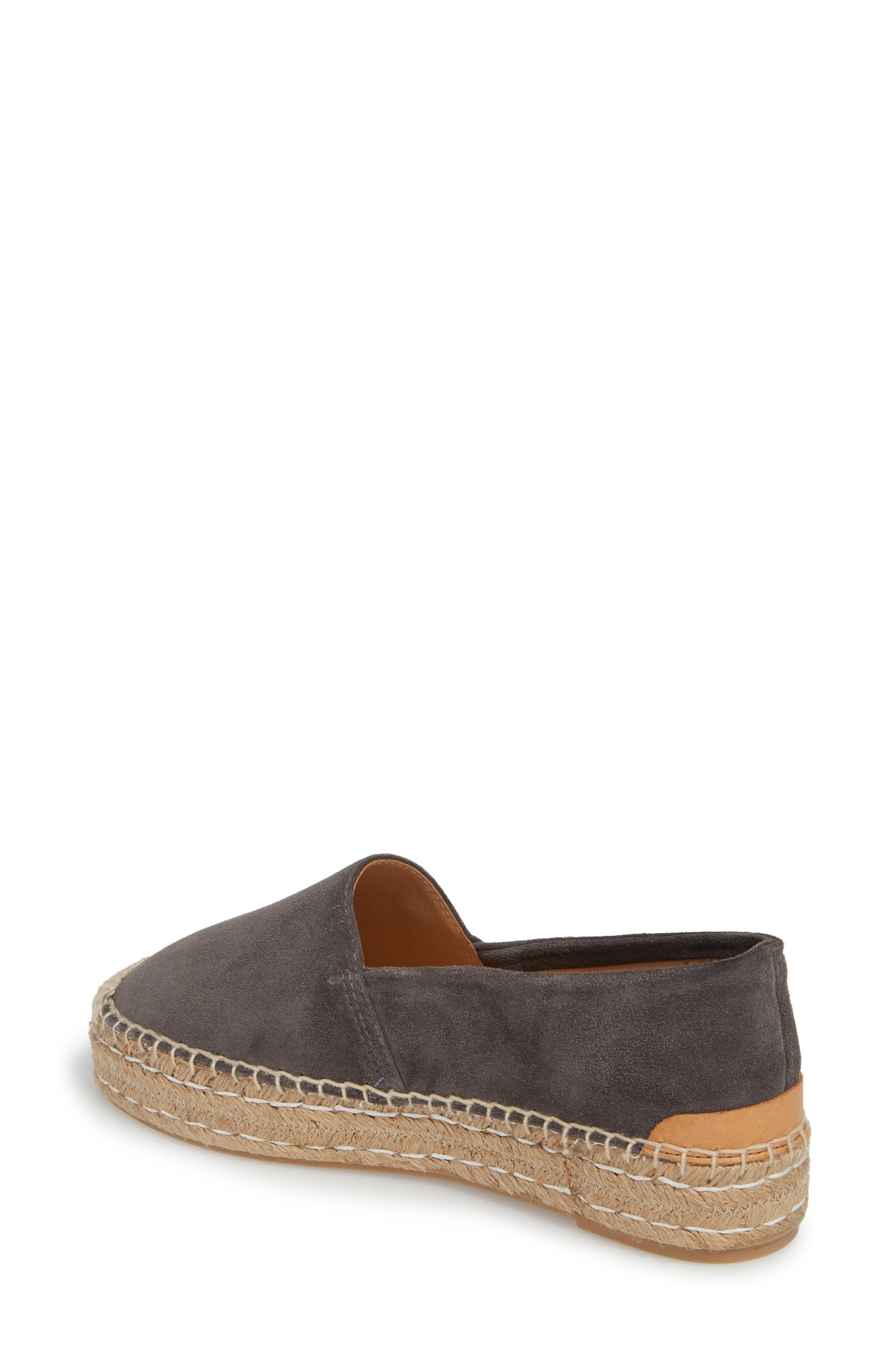 Abigail Espadrille Slip-On,                             Alternate thumbnail 2, color,                             CHARCOAL SUEDE