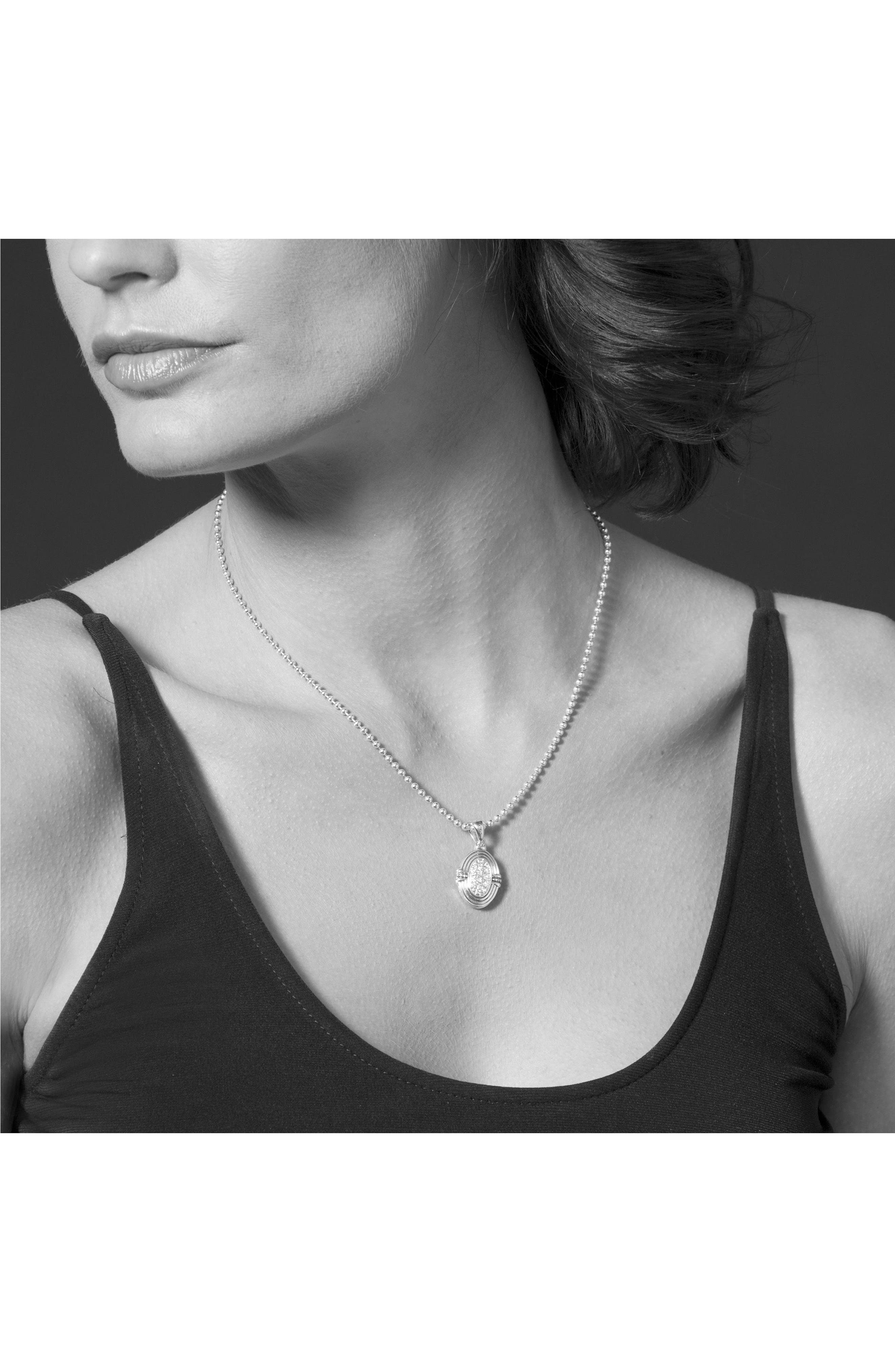 LAGOS,                             Beloved Diamond Oval Locket Necklace,                             Alternate thumbnail 3, color,                             SILVER