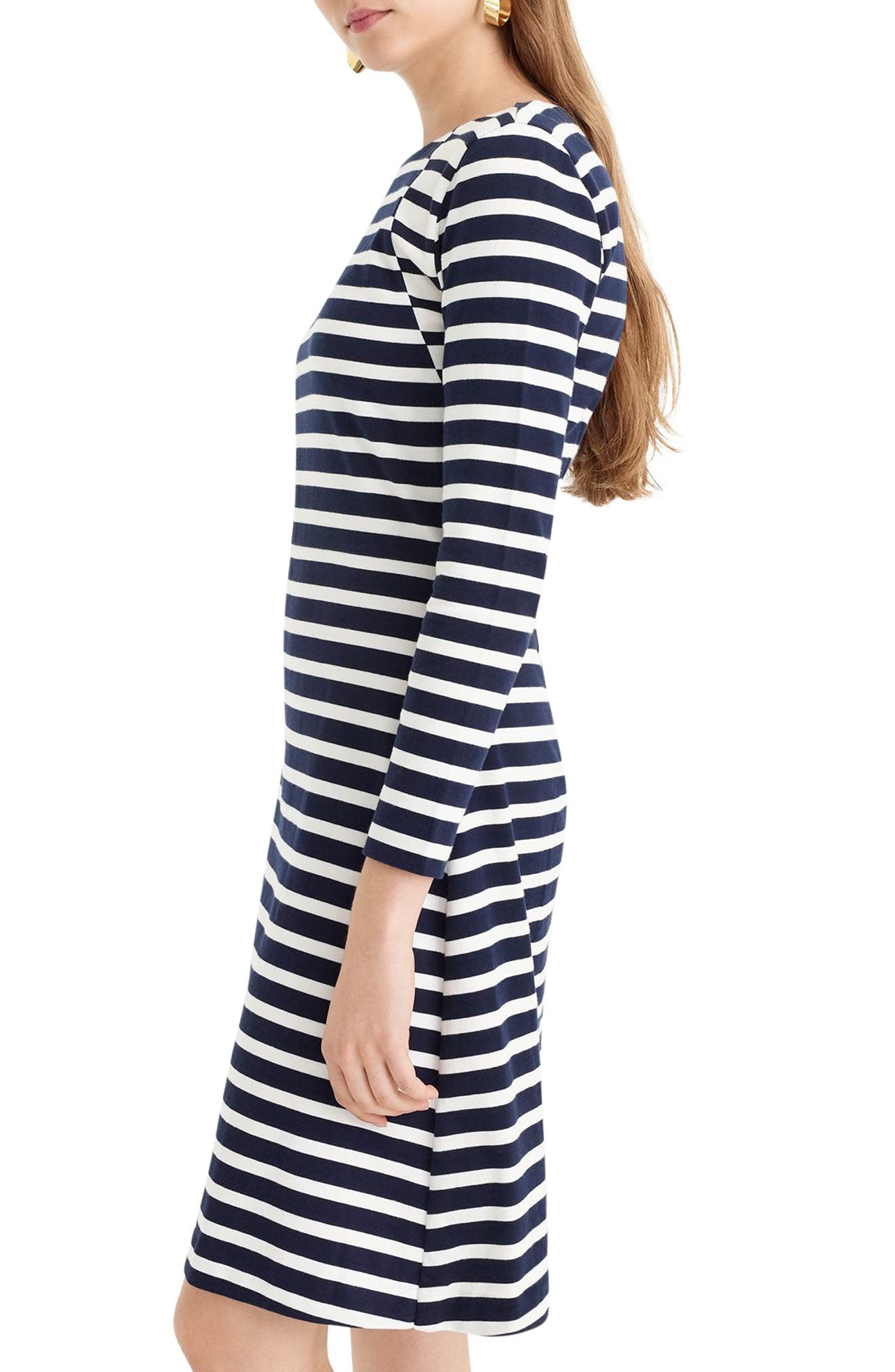365 Stripe Knit Fit & Flare Dress,                             Alternate thumbnail 3, color,                             400