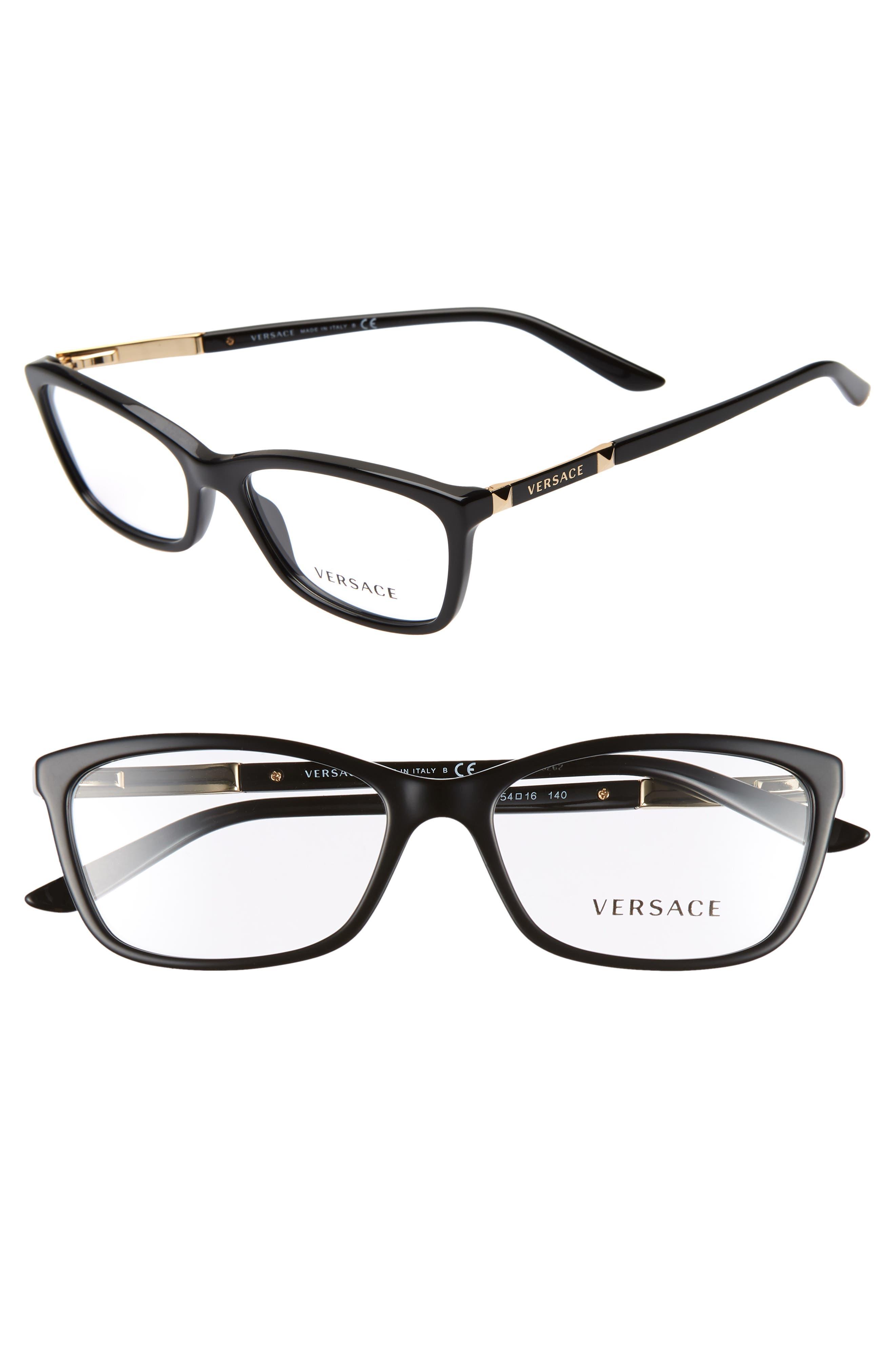 VERSACE 54mm Optical Glasses, Main, color, BLACK