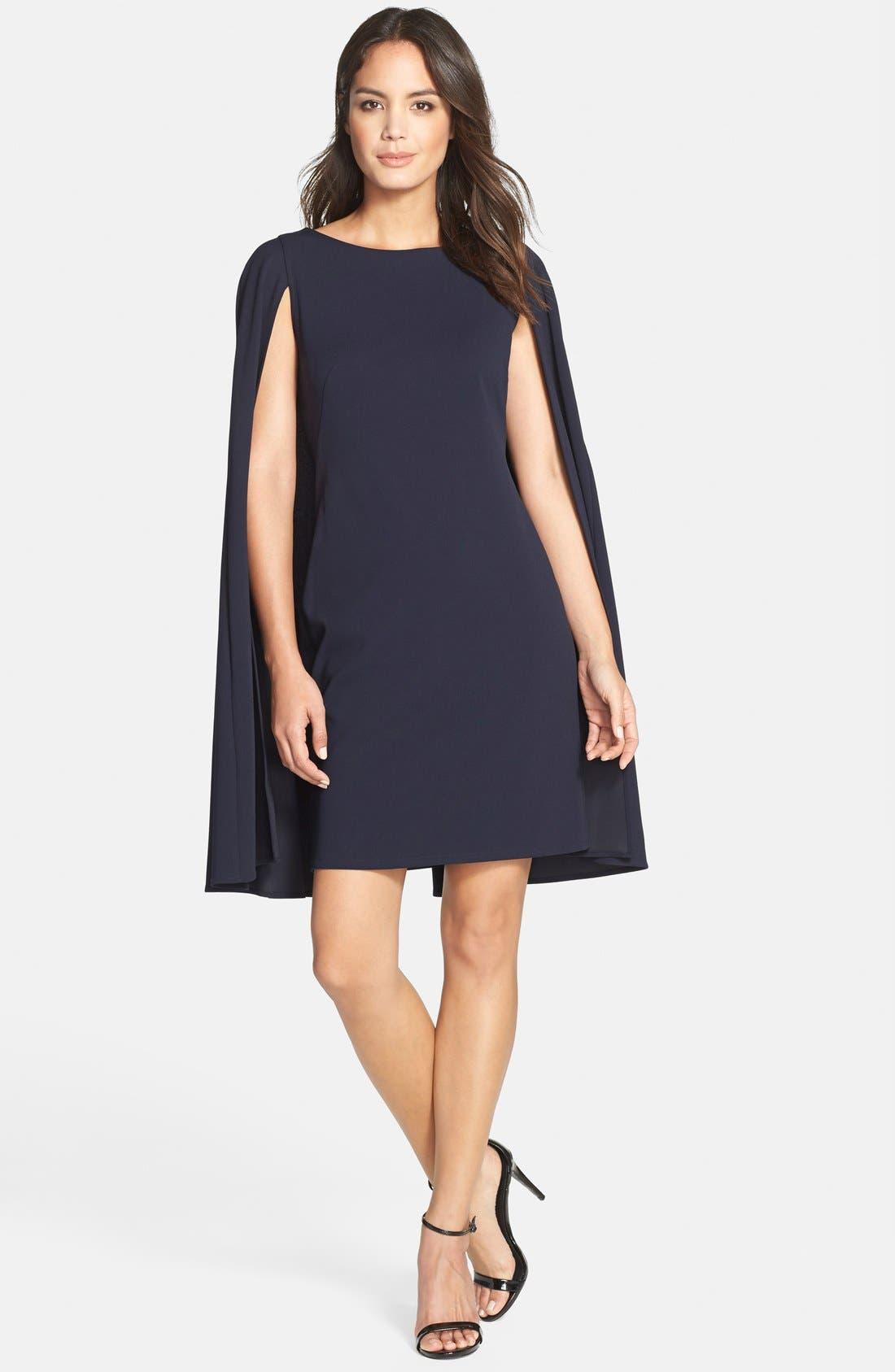 ADRIANNA PAPELL,                             Cape Sheath Dress,                             Alternate thumbnail 4, color,                             412