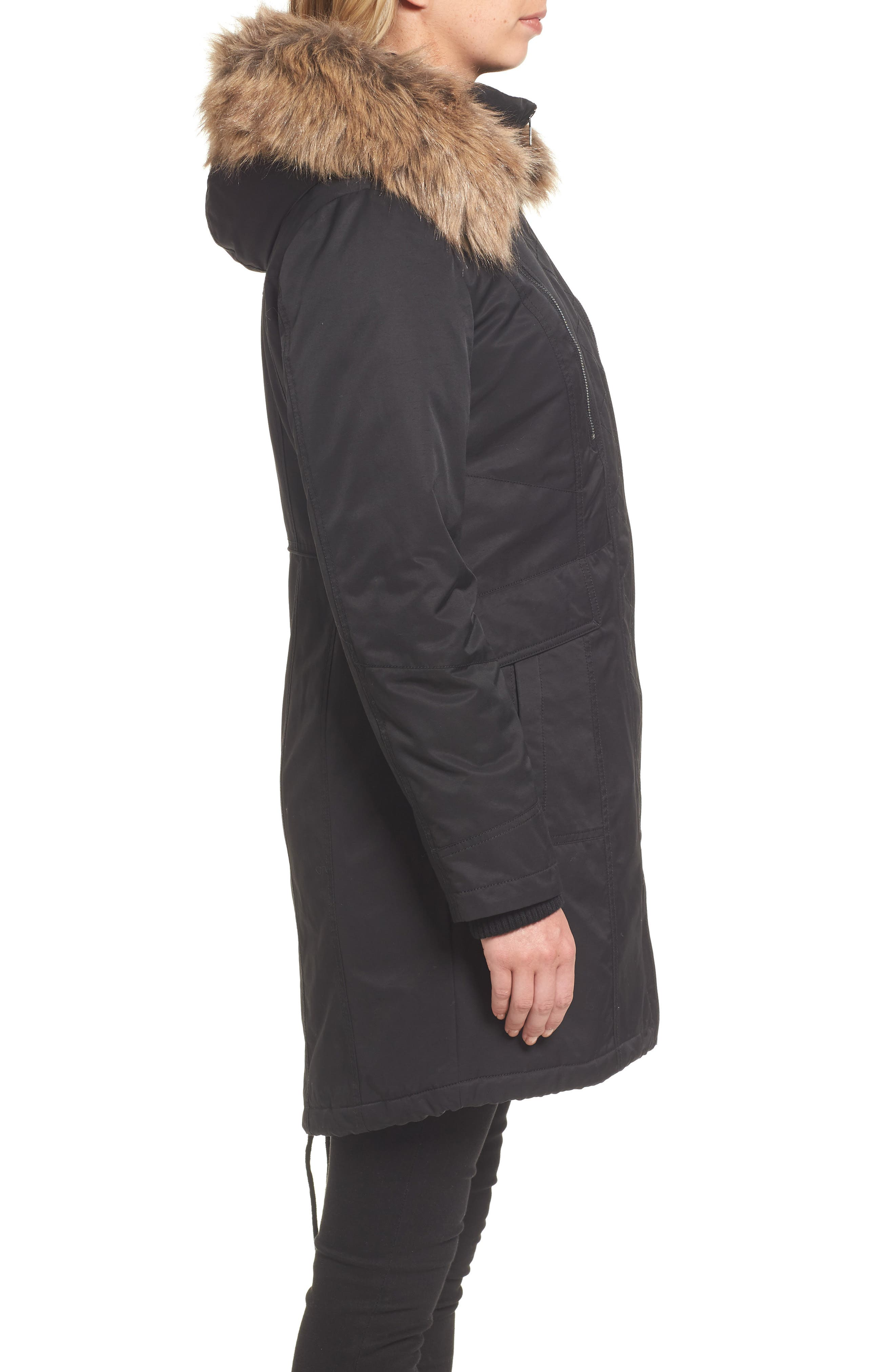 Insulated Parka with Faux Fur Trim,                             Alternate thumbnail 3, color,                             001
