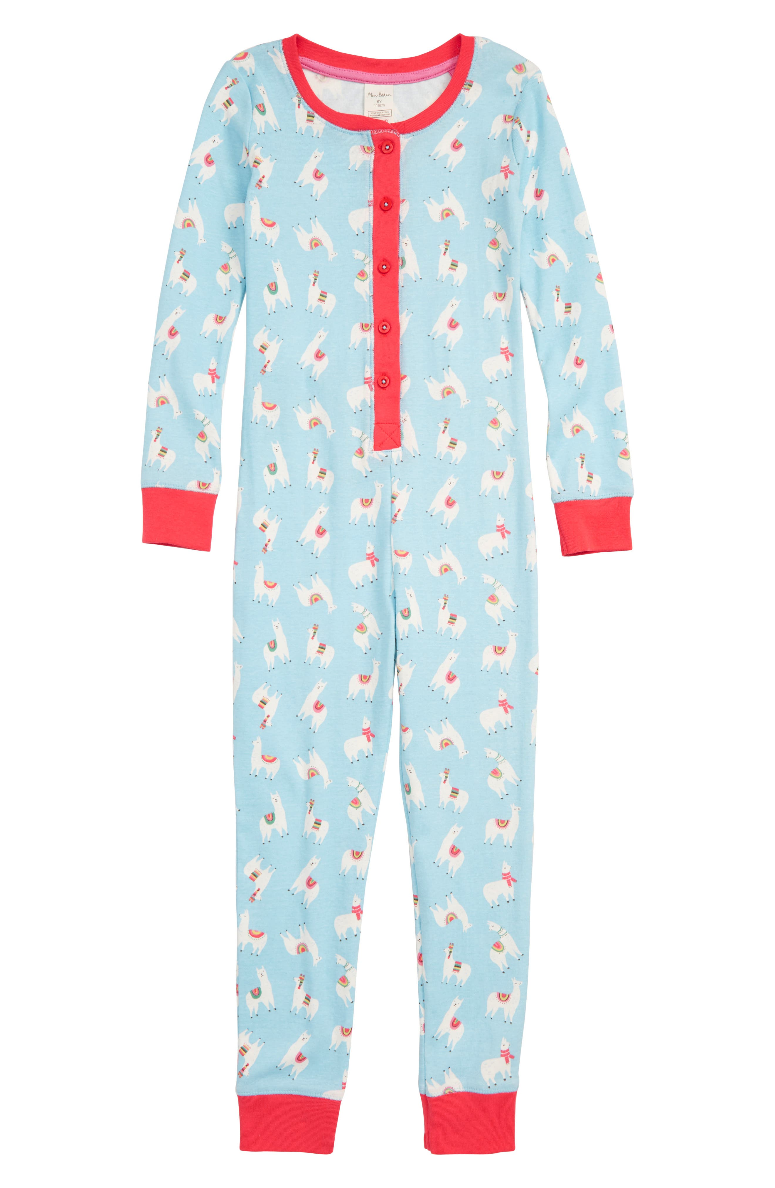 Fitted Cosy All in One Pajamas,                         Main,                         color, BLU ICE BLUE LLAMAS