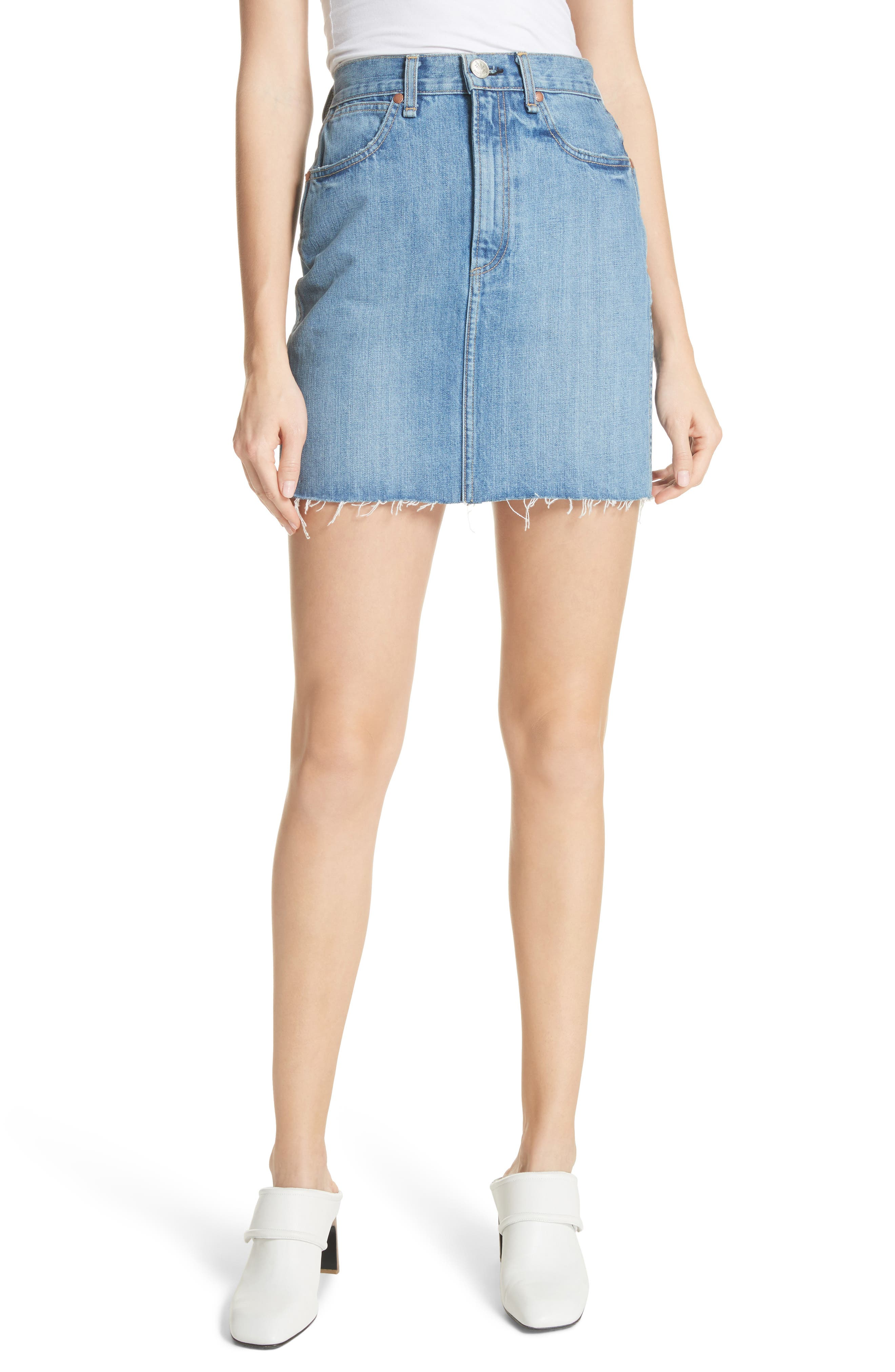 Moss High Waist Denim Miniskirt,                         Main,                         color, 420