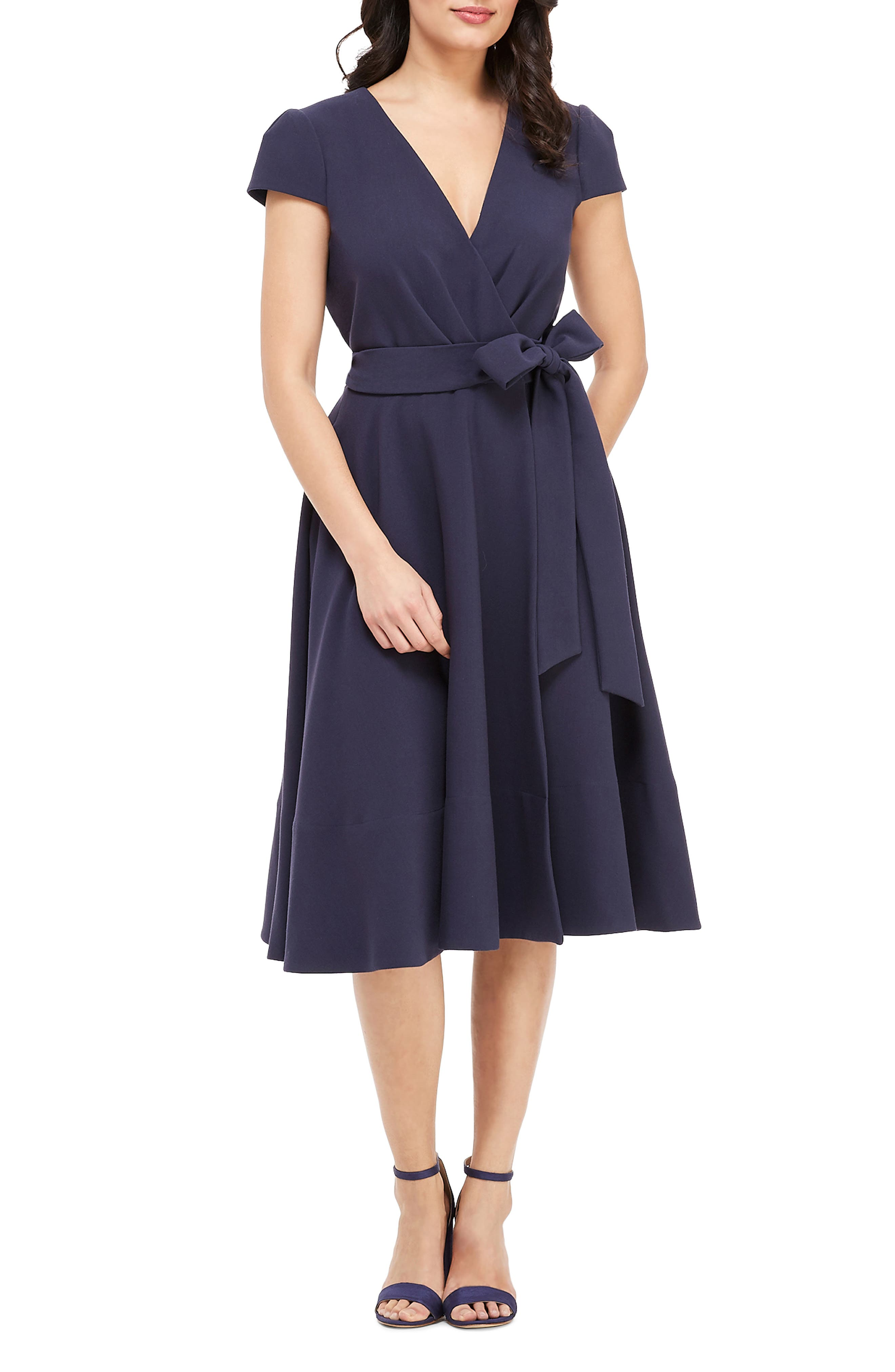 Gal Meets Glam Collection Fit & Flare Wrap Dress, Blue