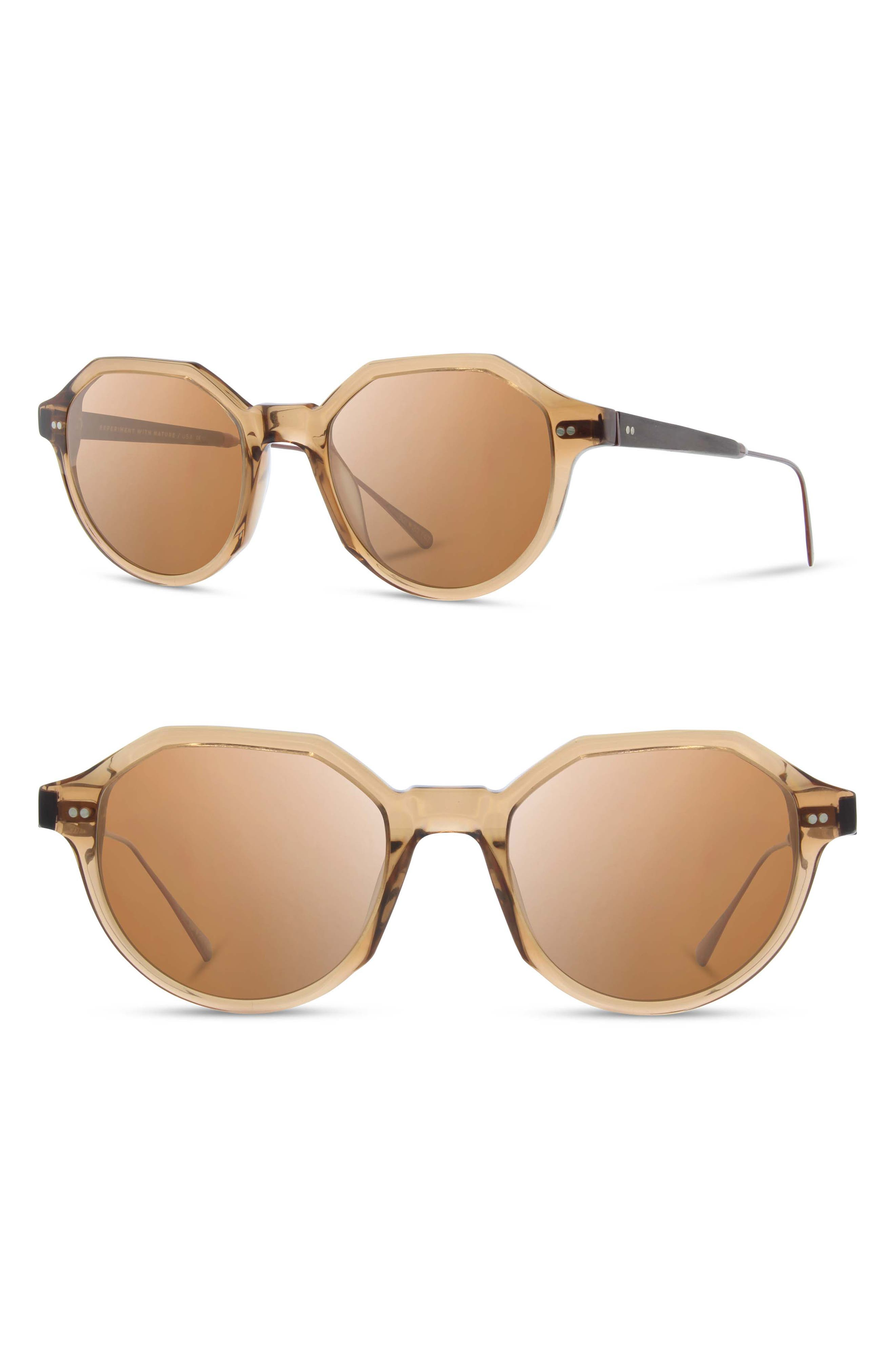 Shwood Powell 50Mm Polarized Geometric Sunglasses - Copper/ Ebony/ Brown