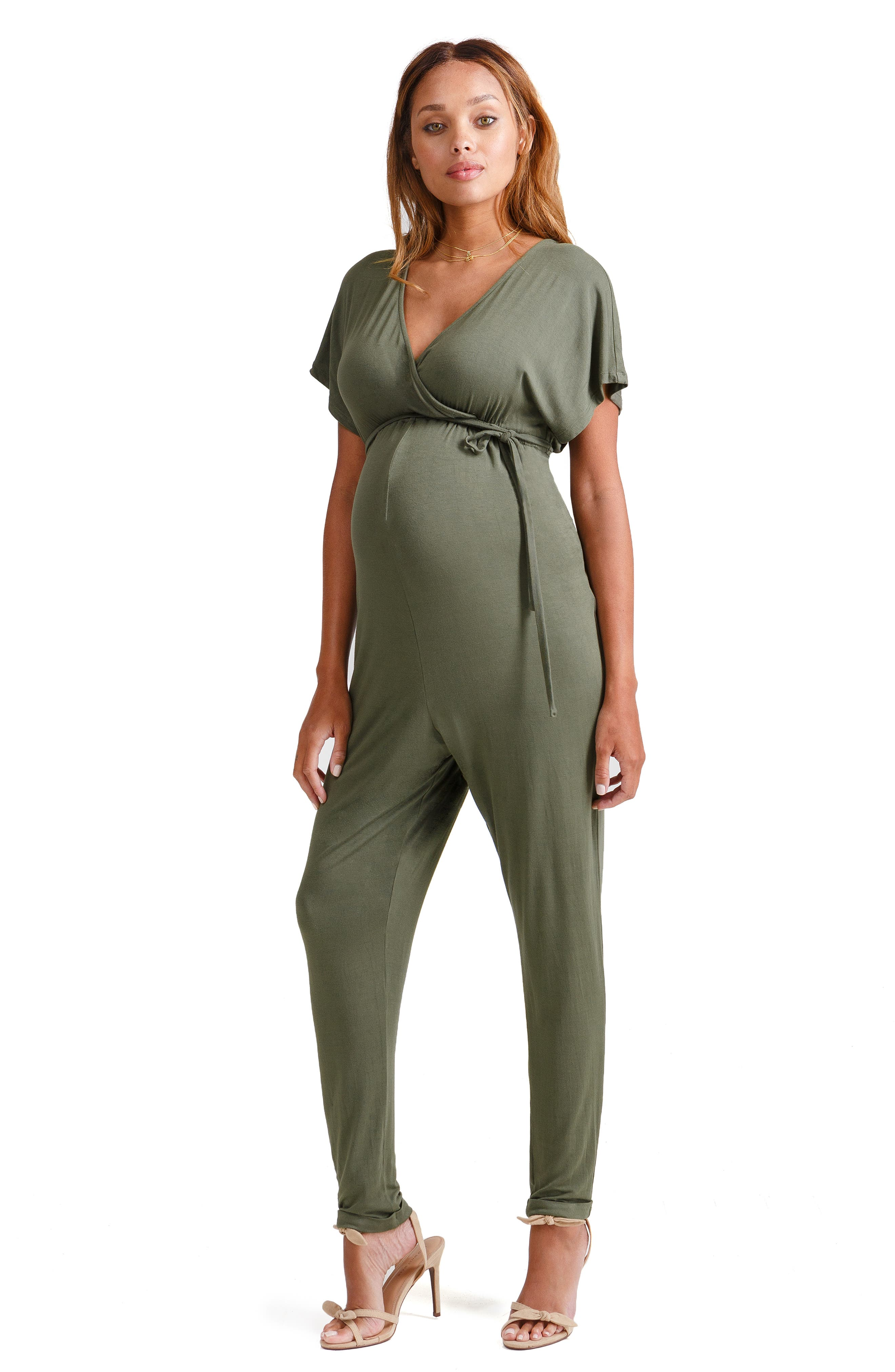 Crossover Maternity Jumpsuit,                             Alternate thumbnail 6, color,                             OLIVE