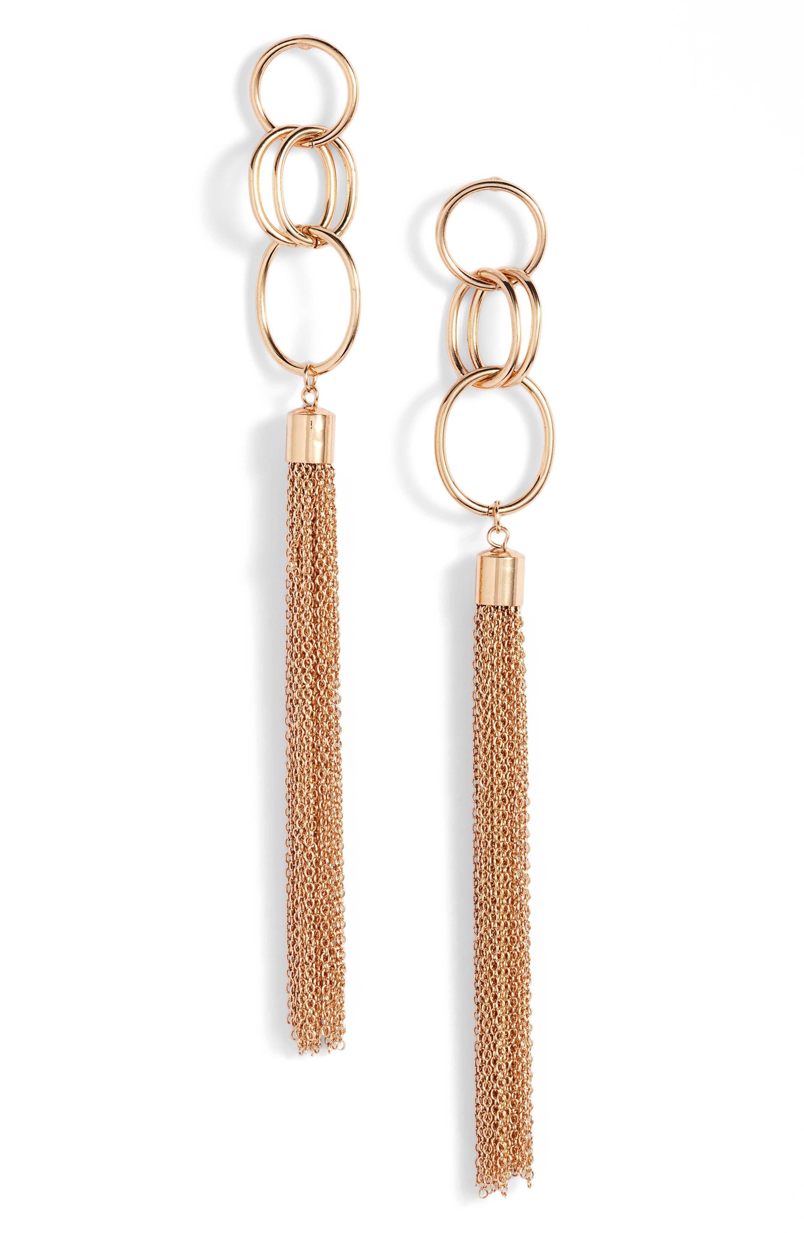 Chain Tassel Drop Earrings,                             Main thumbnail 1, color,                             710