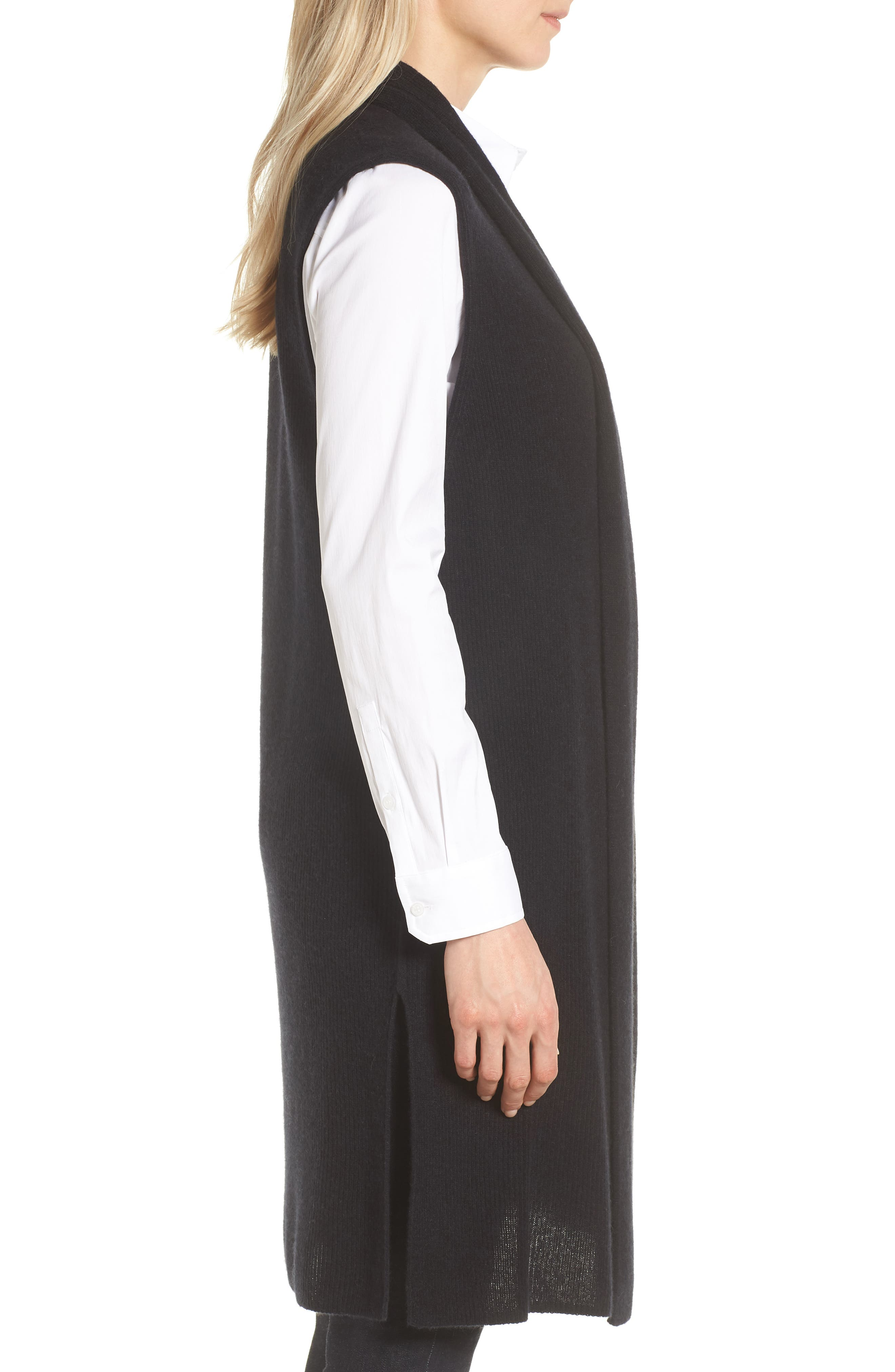 Ribbed Cashmere Vest,                             Alternate thumbnail 3, color,                             001