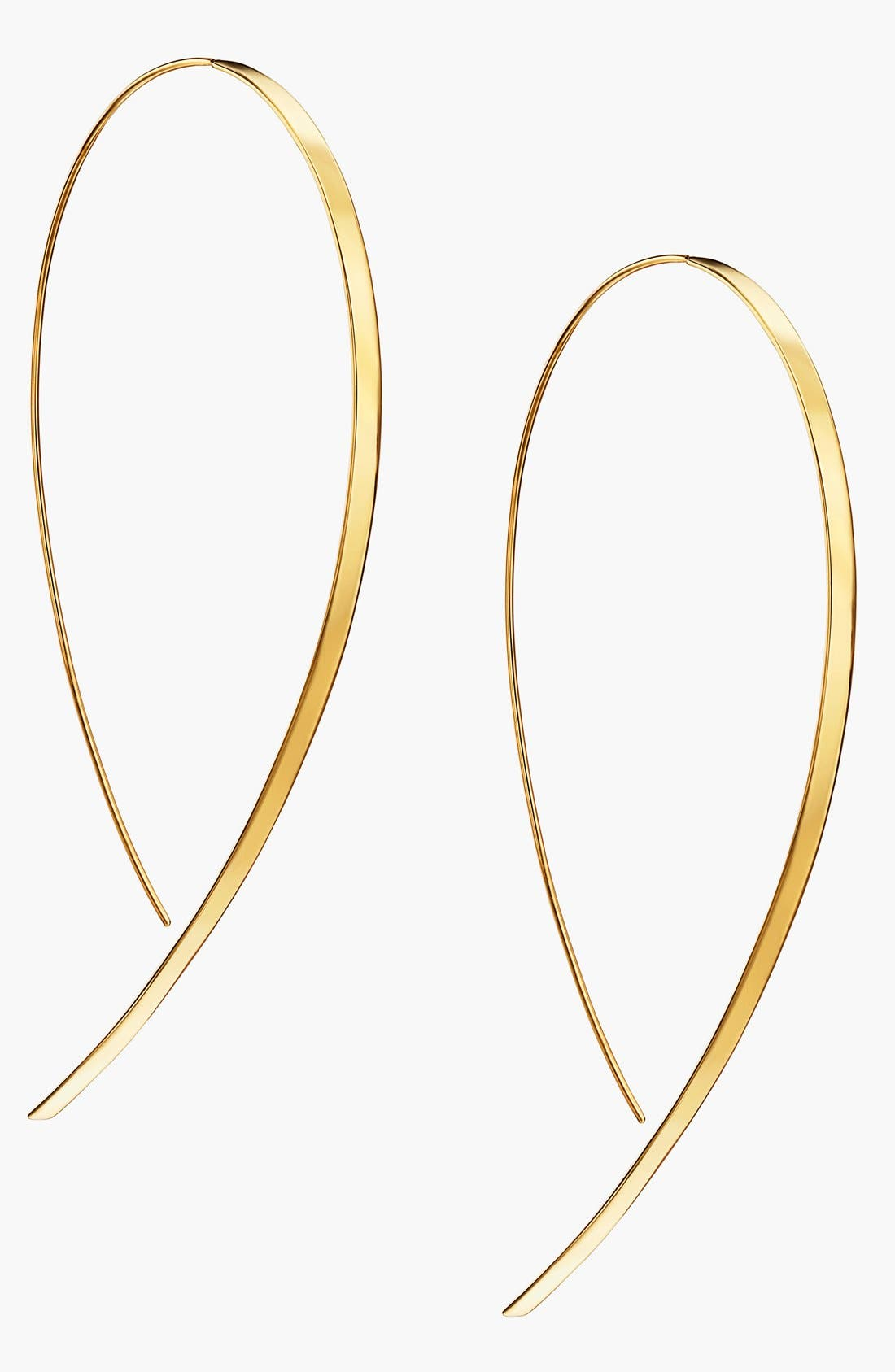 'Hooked On Hoop' Large Flat Earrings,                             Main thumbnail 1, color,                             YELLOW GOLD