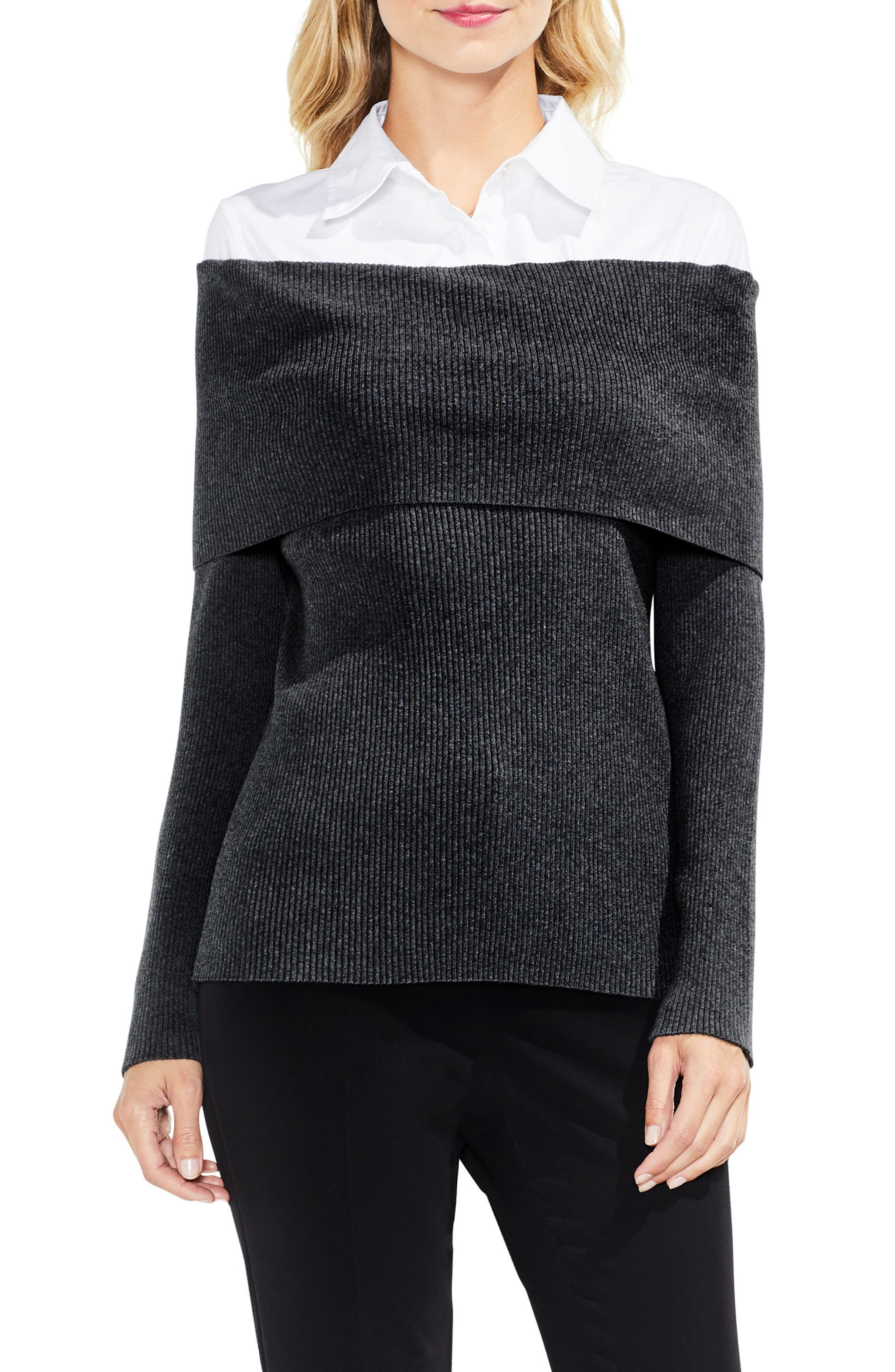 Off the Shoulder Mix Media Sweater,                             Main thumbnail 2, color,