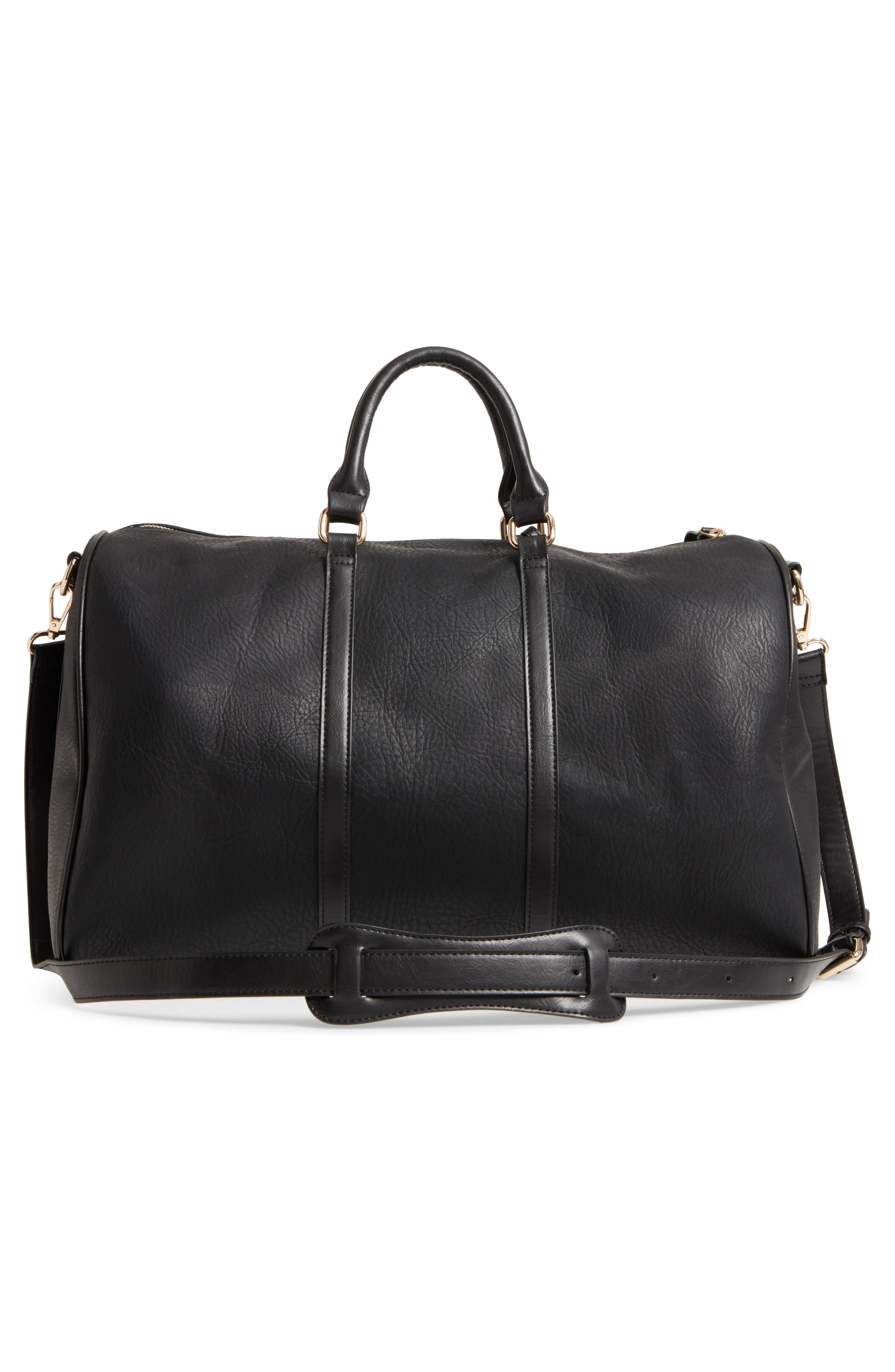 'Cassidy' Faux Leather Duffel Bag,                             Alternate thumbnail 3, color,                             002