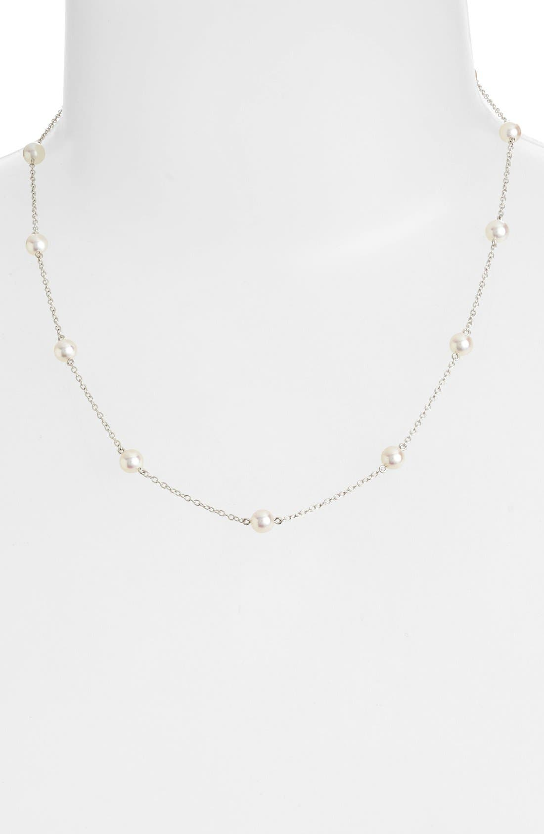 Chain & Pearl Necklace,                         Main,                         color, NO COLOR