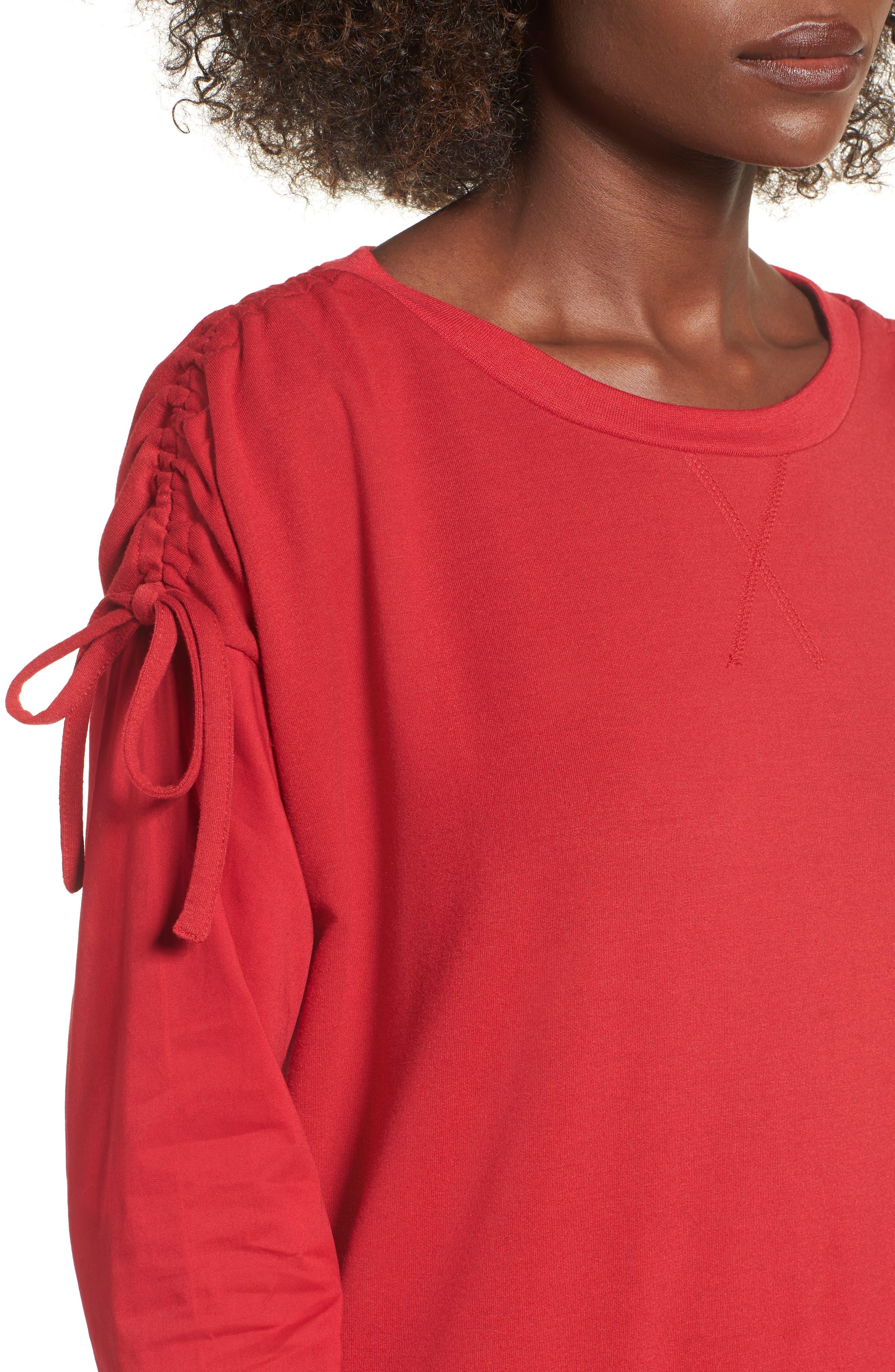 Cinch Sleeve Sweatshirt,                             Alternate thumbnail 4, color,                             603