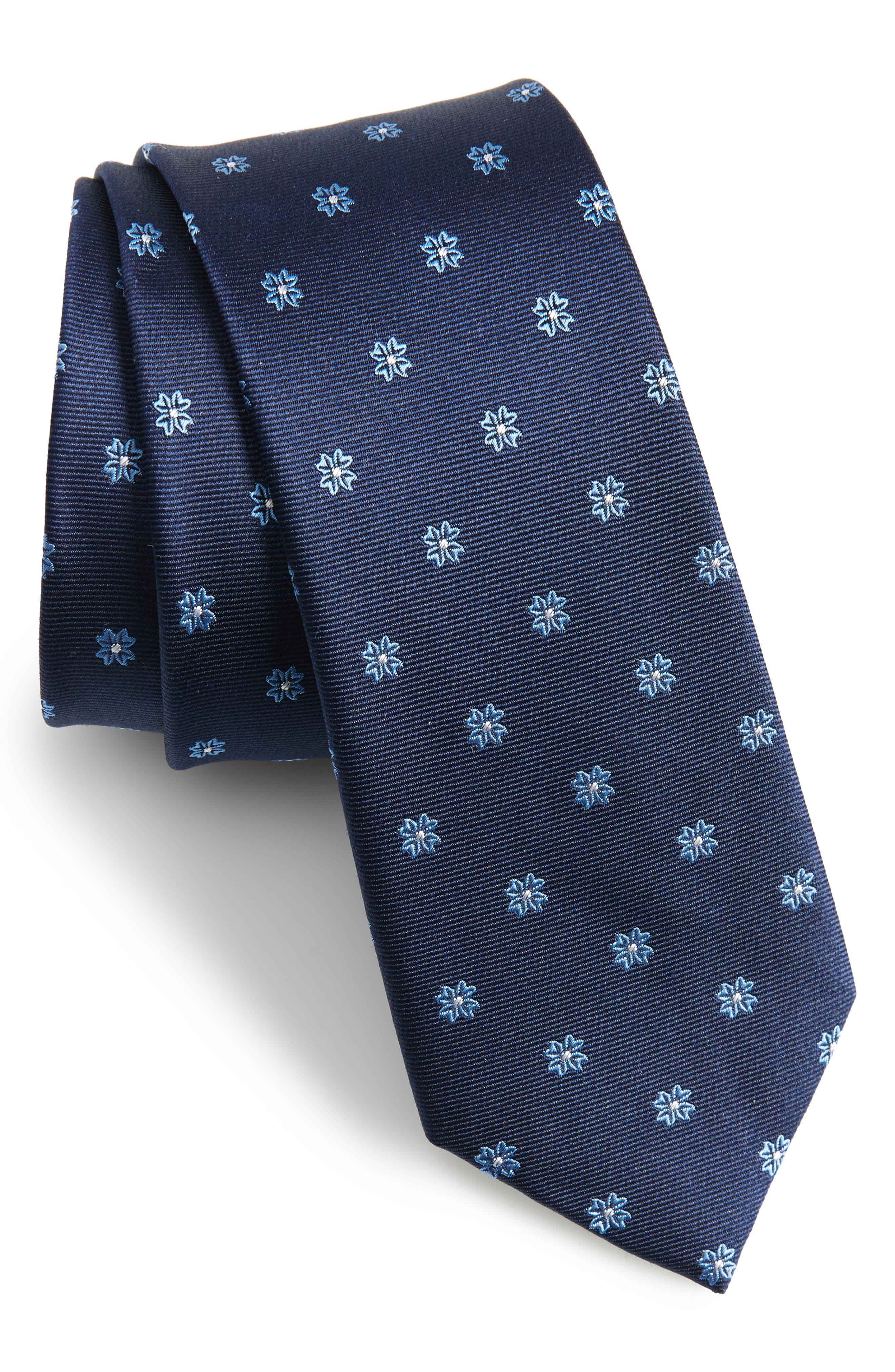 Primrose Flowers Silk Skinny Tie,                             Main thumbnail 3, color,