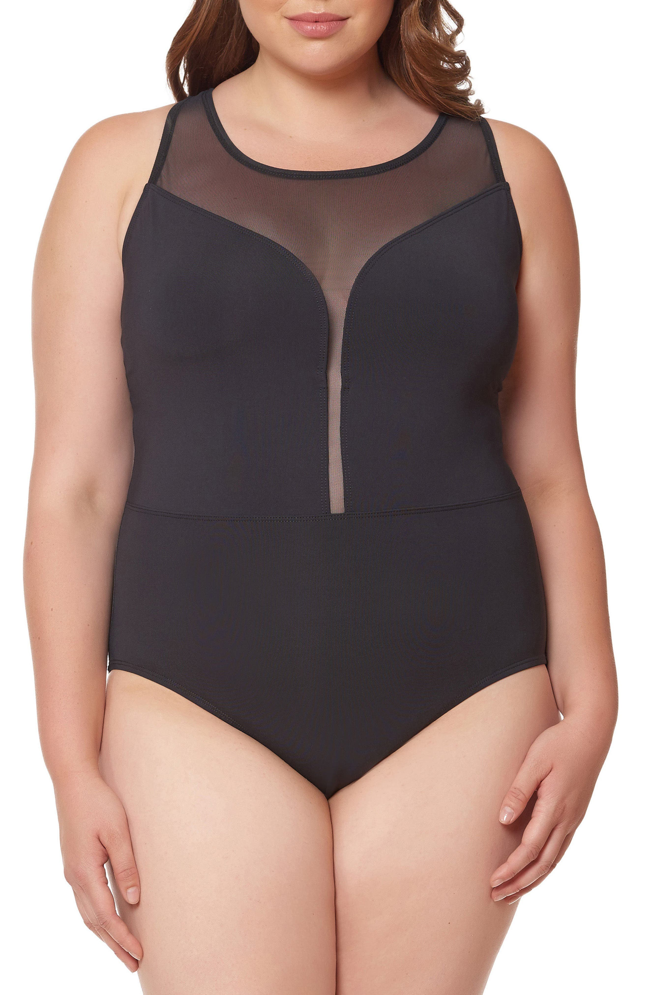 Mesh Plunge One-Piece Swimsuit,                         Main,                         color, BLACK