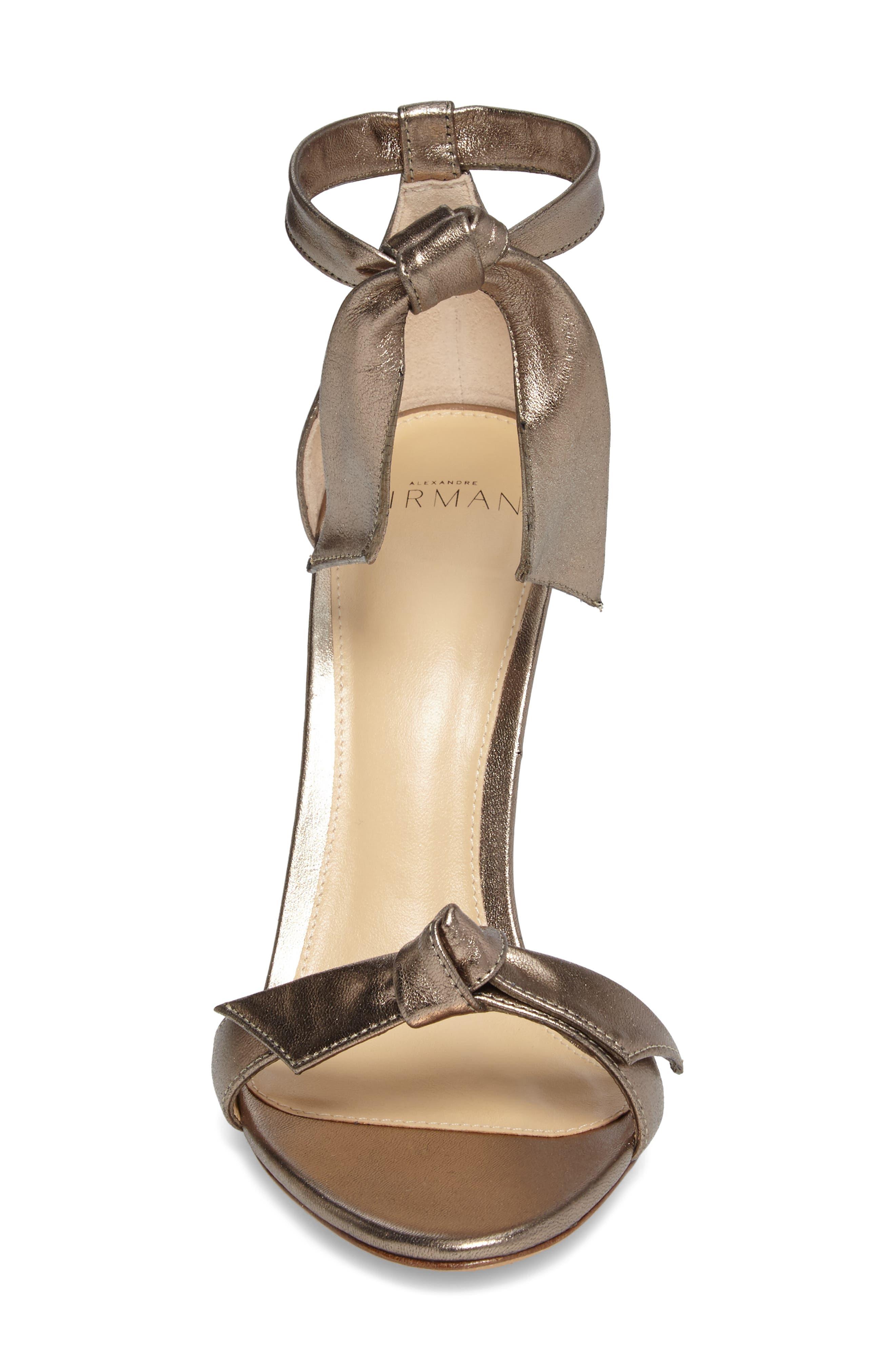 Clarita Ankle Tie Sandal,                             Alternate thumbnail 4, color,                             METALLIC GOLD LEATHER