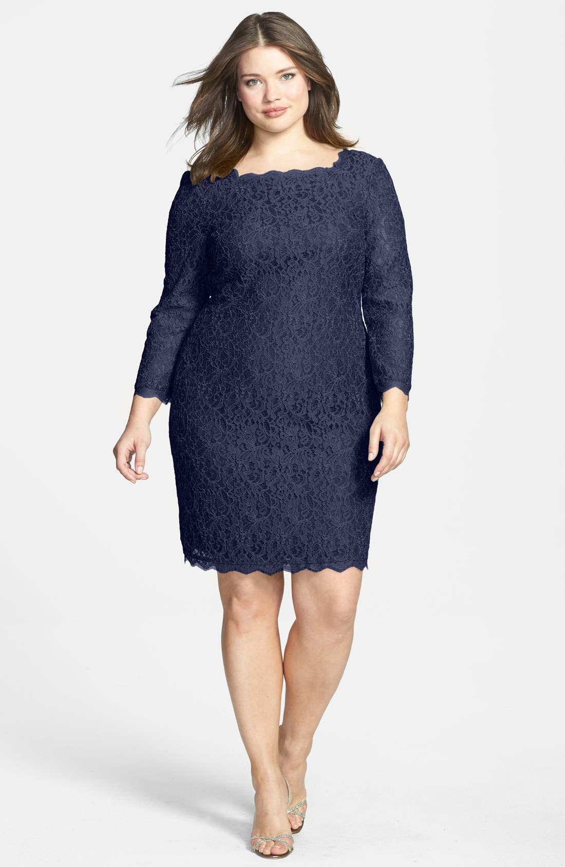 Lace Overlay Sheath Dress,                         Main,                         color, NAVY