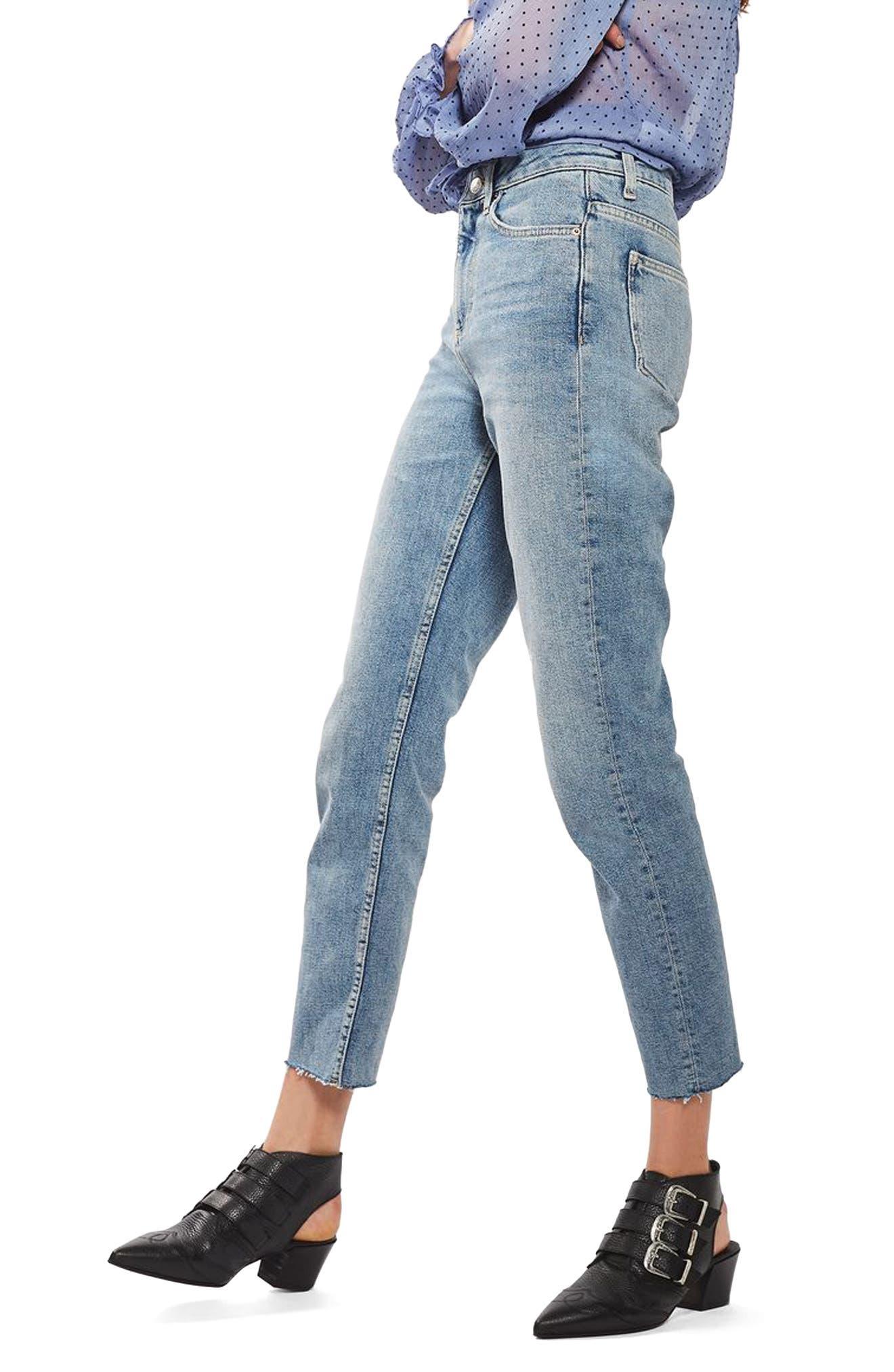 Moto Raw Hem Straight Leg Jeans,                             Alternate thumbnail 3, color,                             420