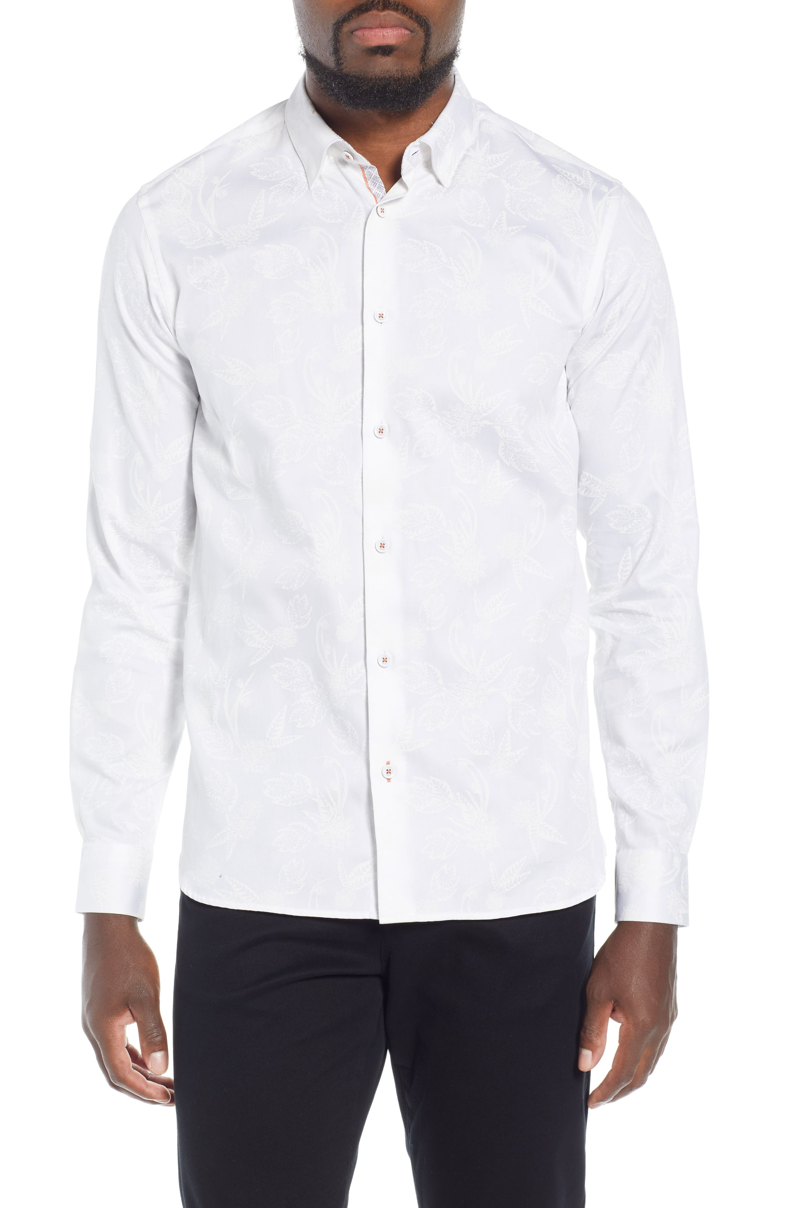 Holborn Trim Fit Print Sport Shirt,                             Main thumbnail 1, color,                             WHITE