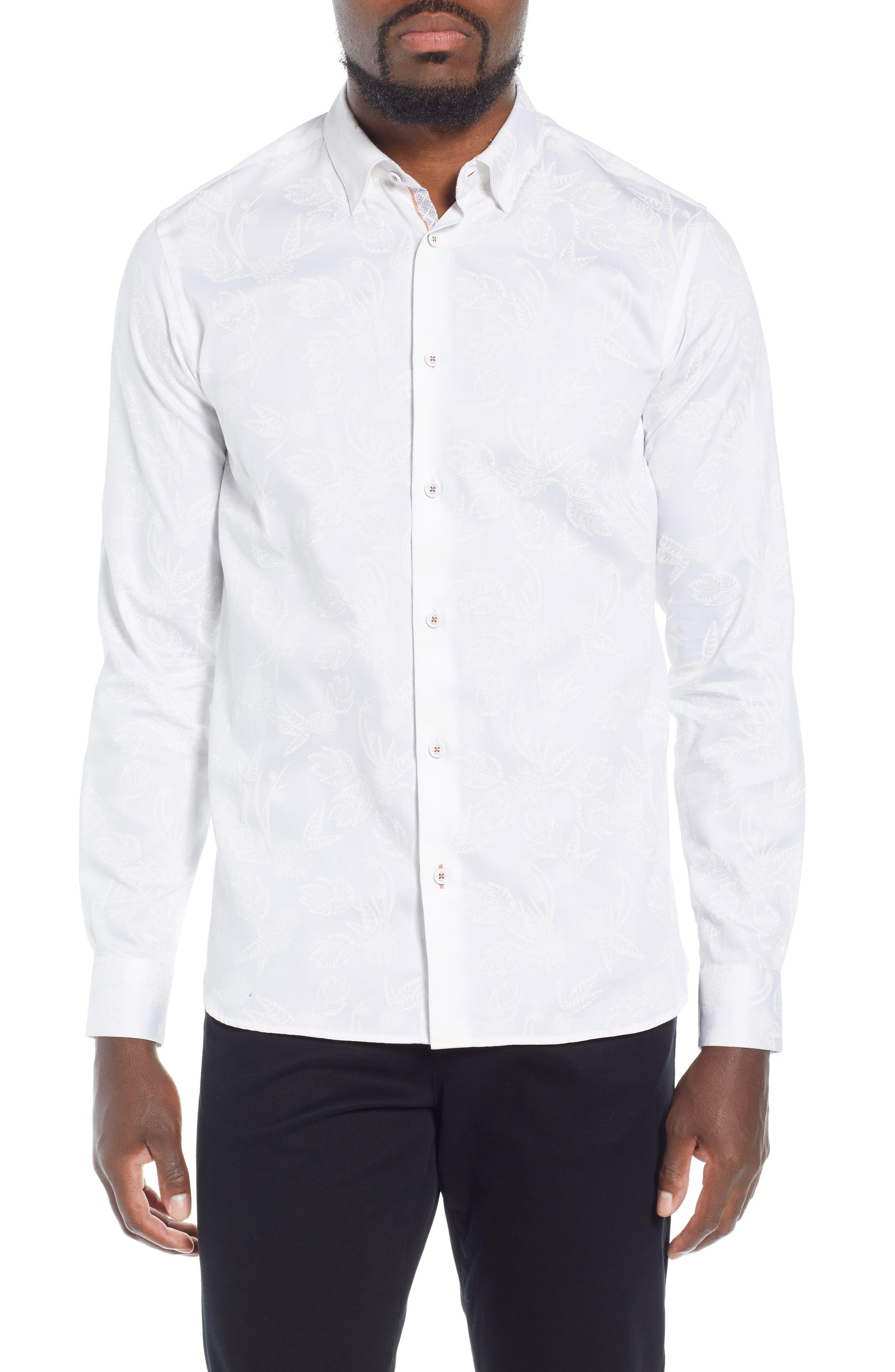 Holborn Trim Fit Print Sport Shirt,                         Main,                         color, WHITE