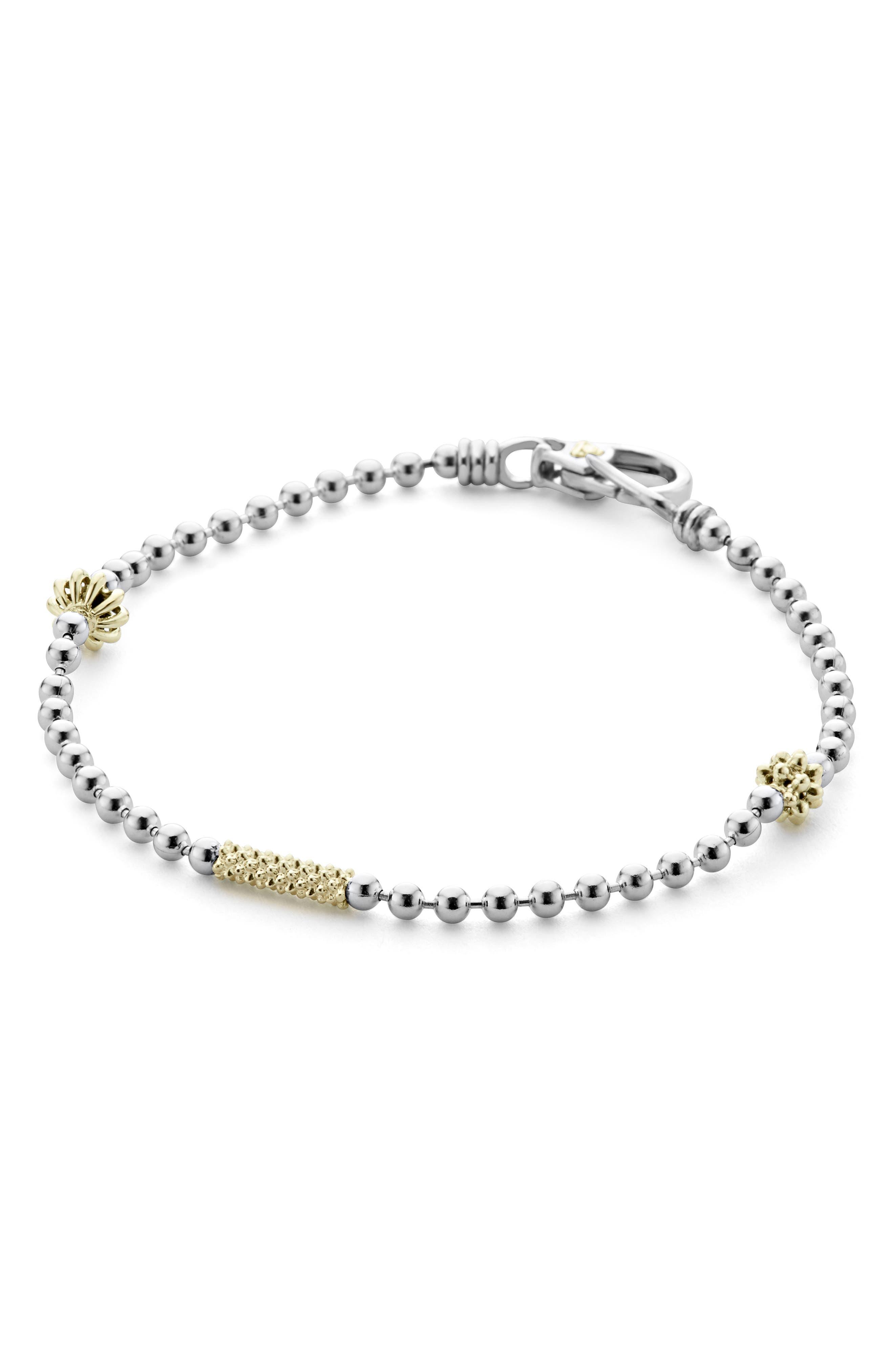 Caviar Icon Single Strand Bracelet,                             Alternate thumbnail 4, color,                             SILVER