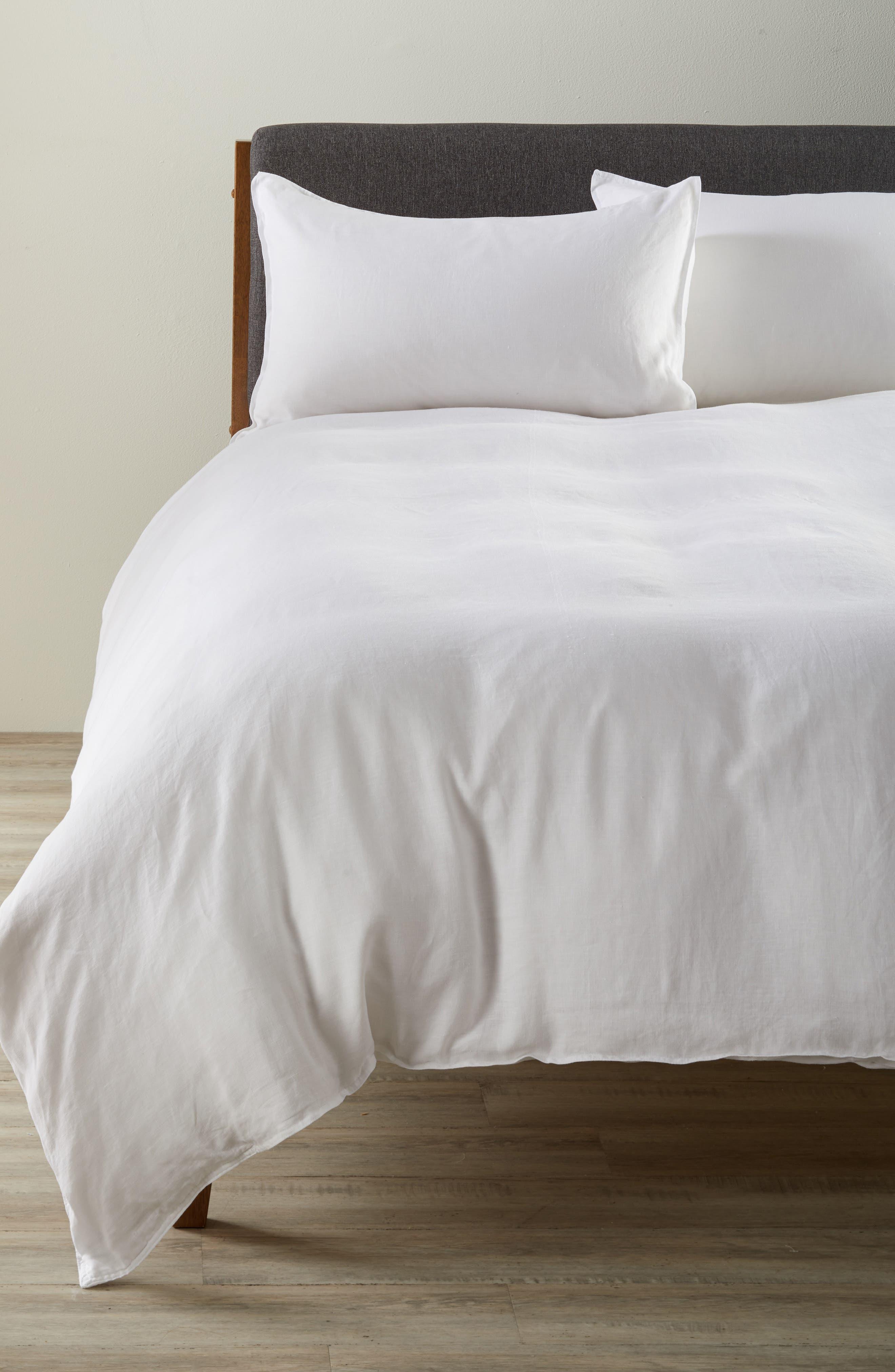 Parker Linen Duvet Cover & Sham Set,                         Main,                         color, WHITE