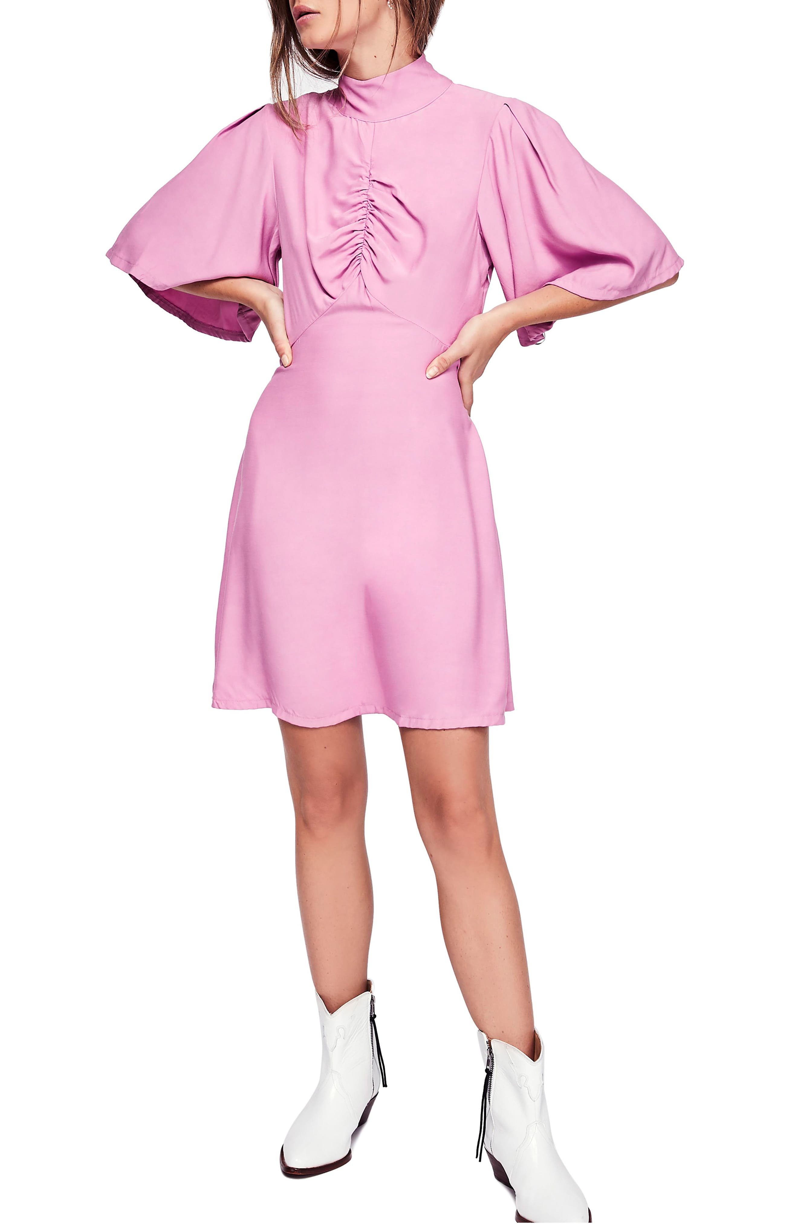 Free People Be My Baby Ruched Front Elbow Sleeve Dress, Pink