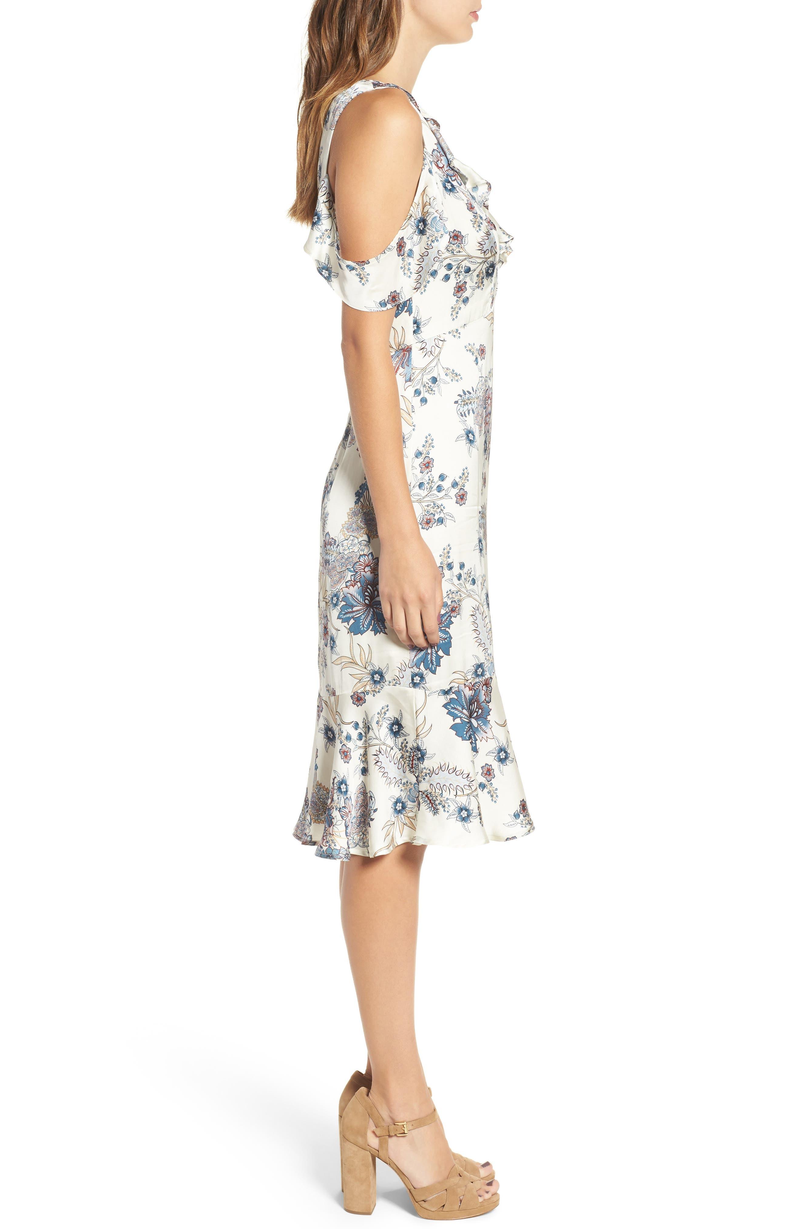 Print Cold Shoulder Dress,                             Alternate thumbnail 3, color,                             661
