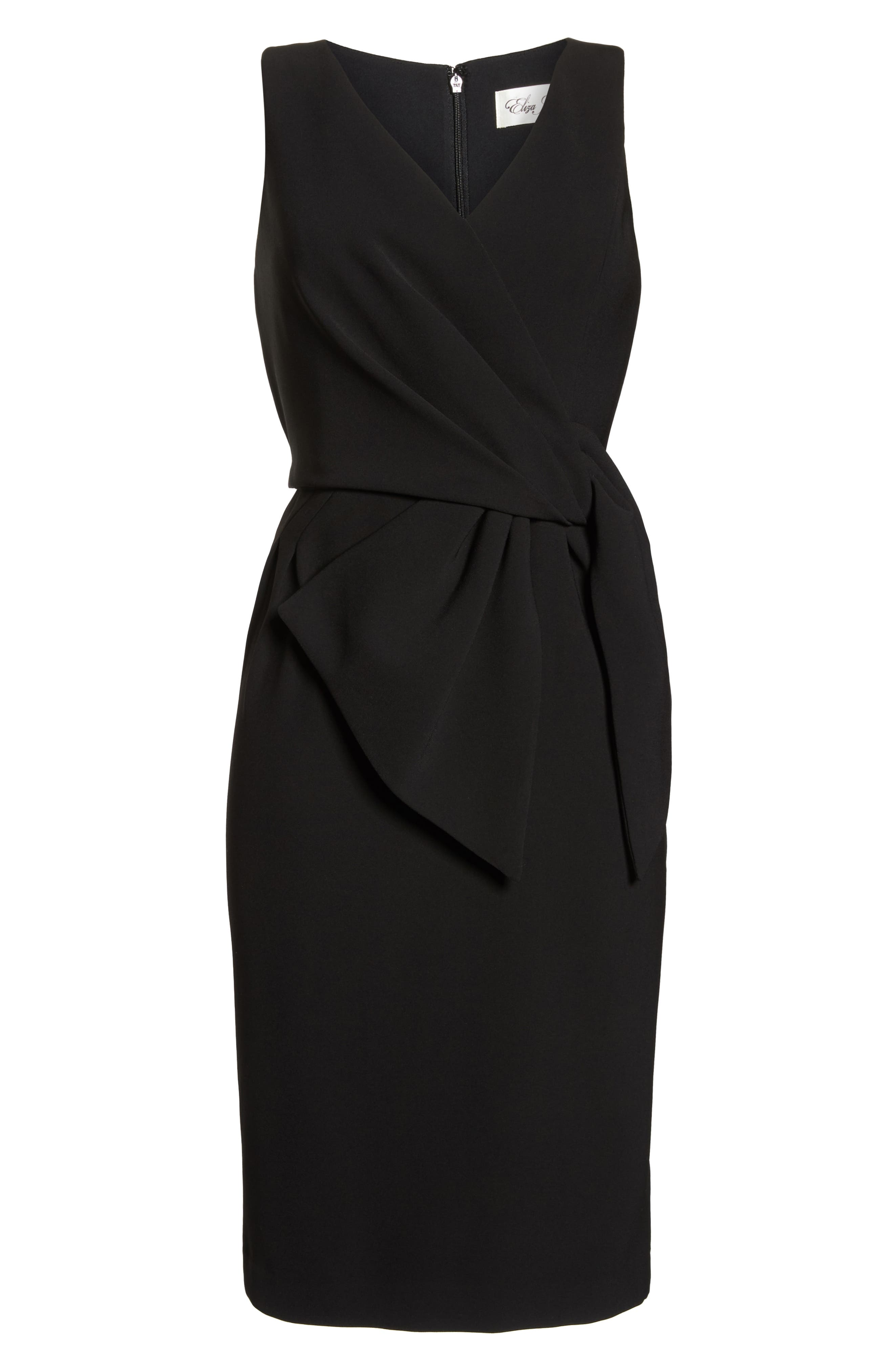 Faux Wrap Sheath Dress,                             Alternate thumbnail 7, color,                             BLACK