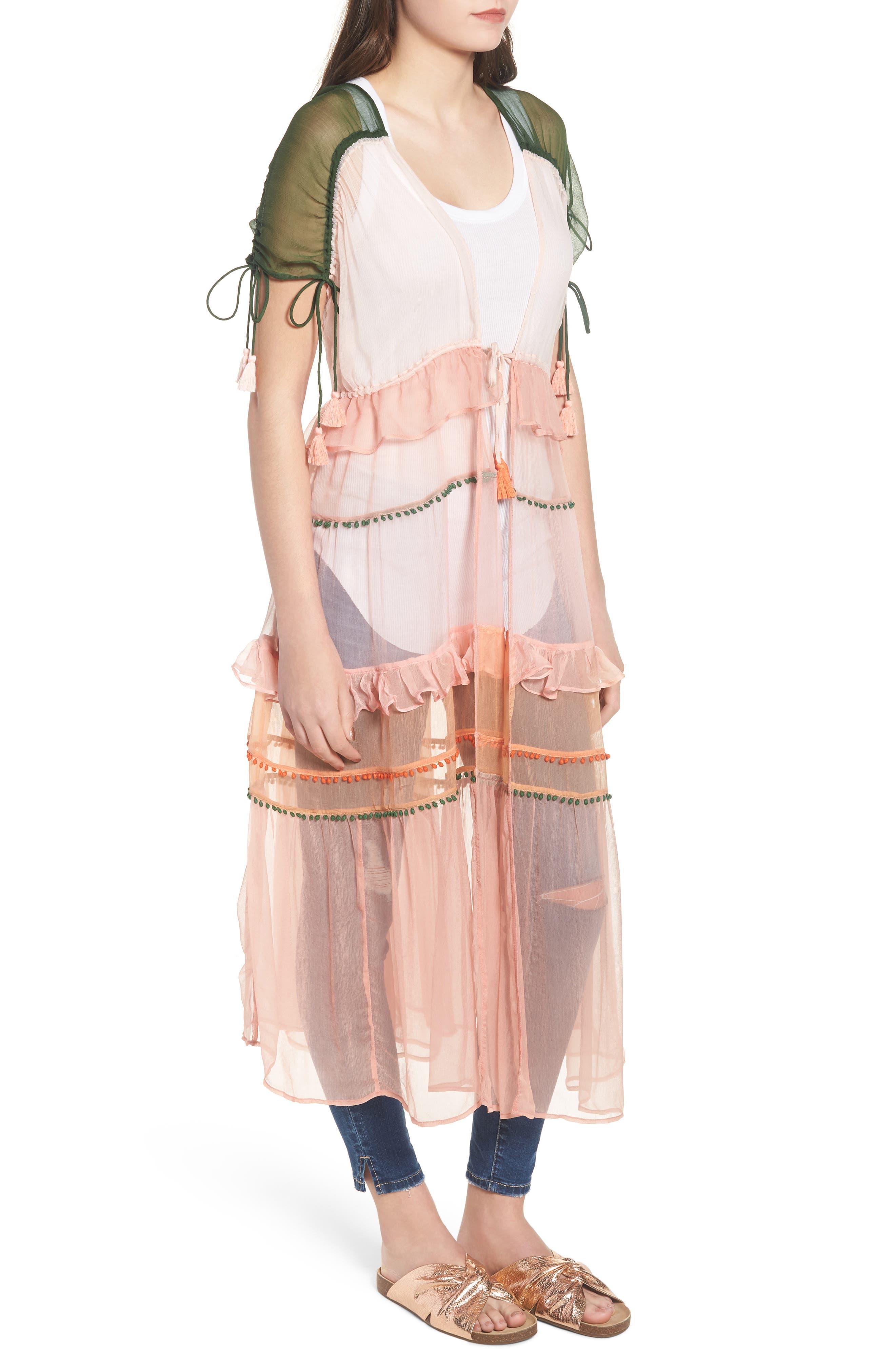 Capri Kimono,                             Alternate thumbnail 3, color,                             CORAL COMBO