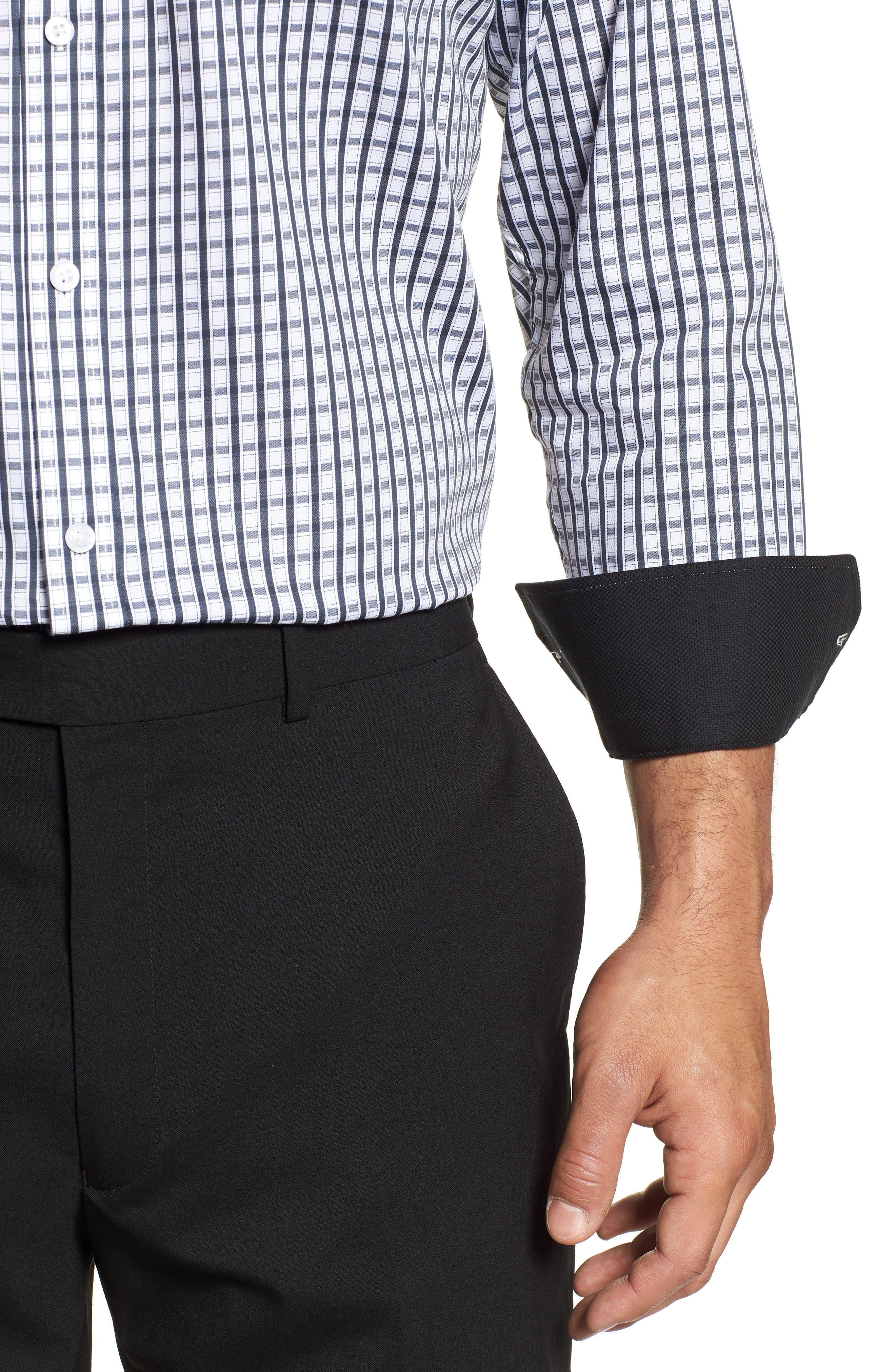 Regular Fit Check Dress Shirt,                             Alternate thumbnail 2, color,                             BLACK