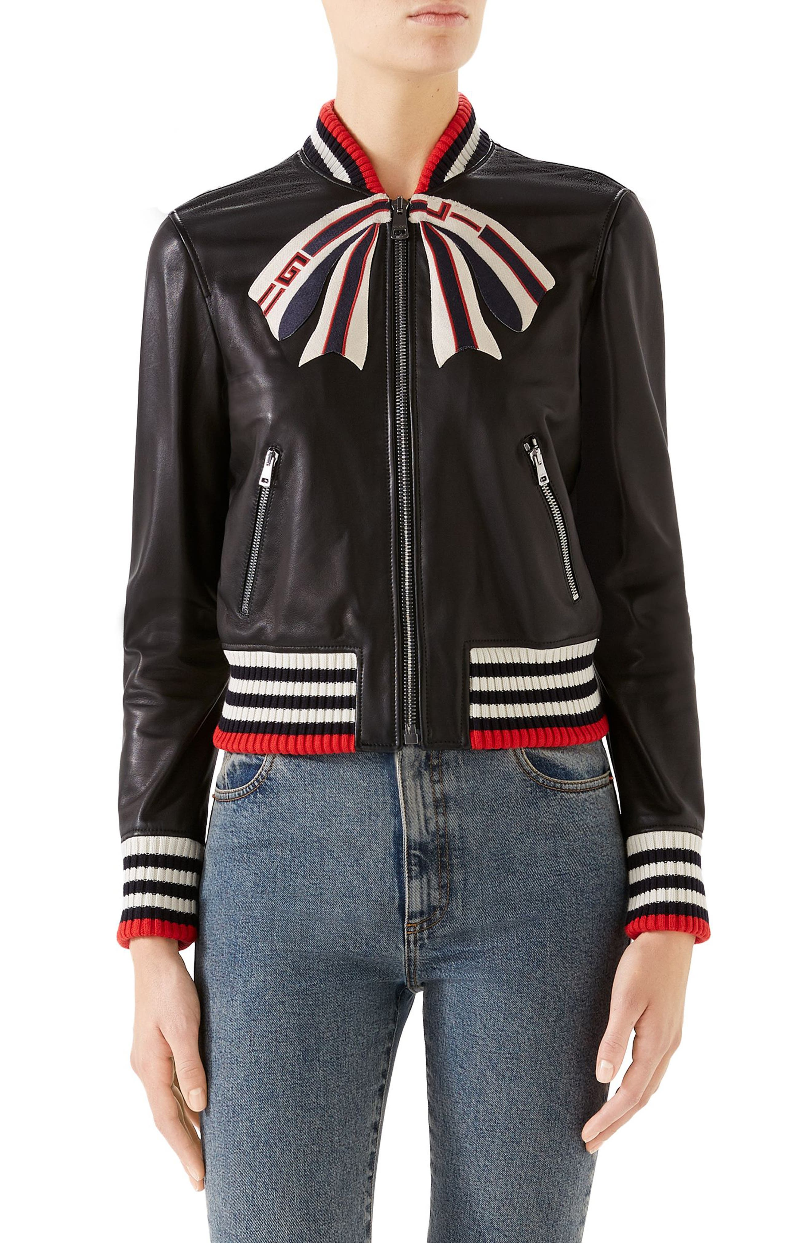 GUCCI Bow Leather Bomber Jacket, Main, color, 1082 BLACK/ MULTICOLOR