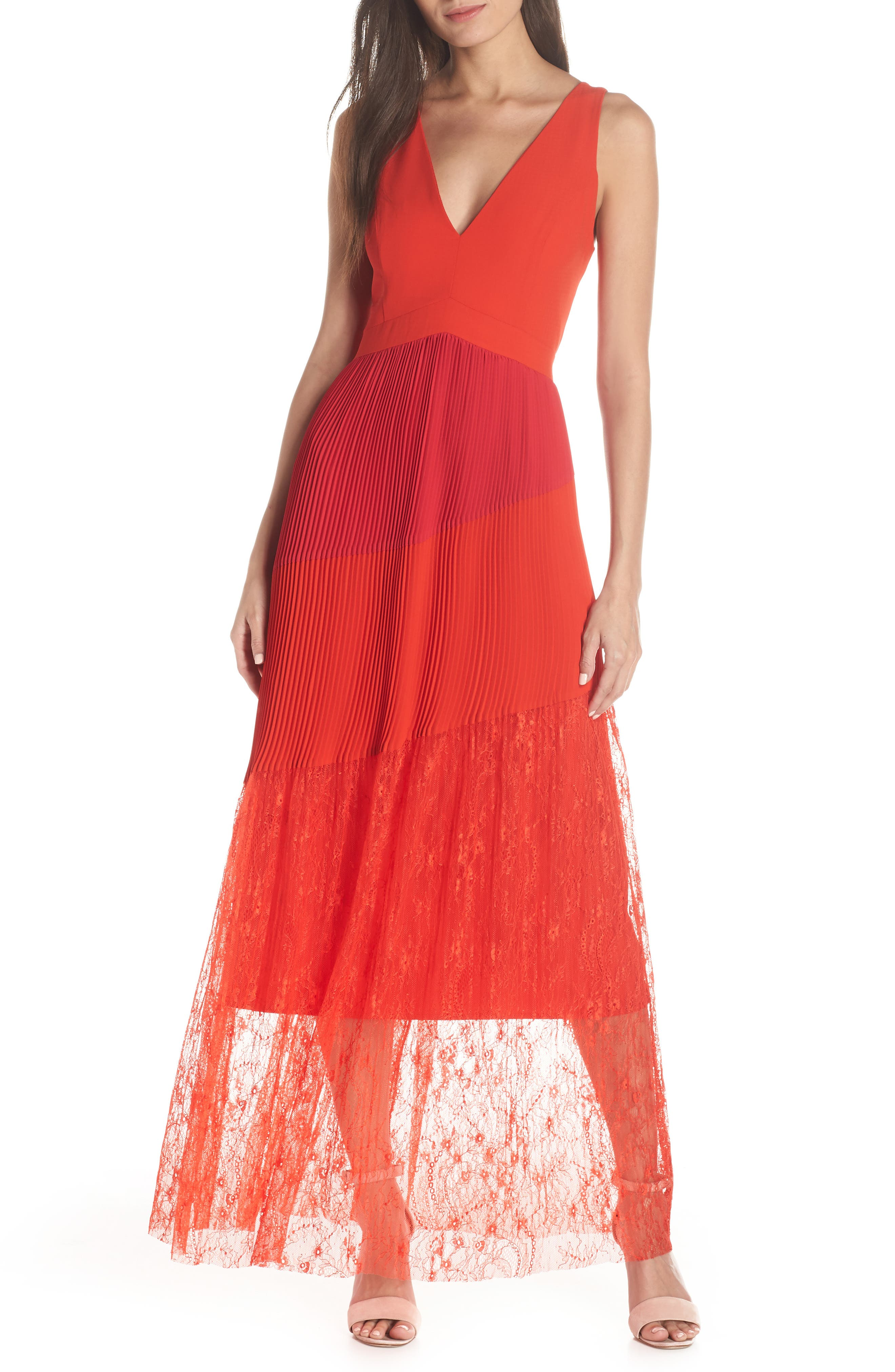 Harlyn Pleated Mix Media Colorblock Evening Dress, Red