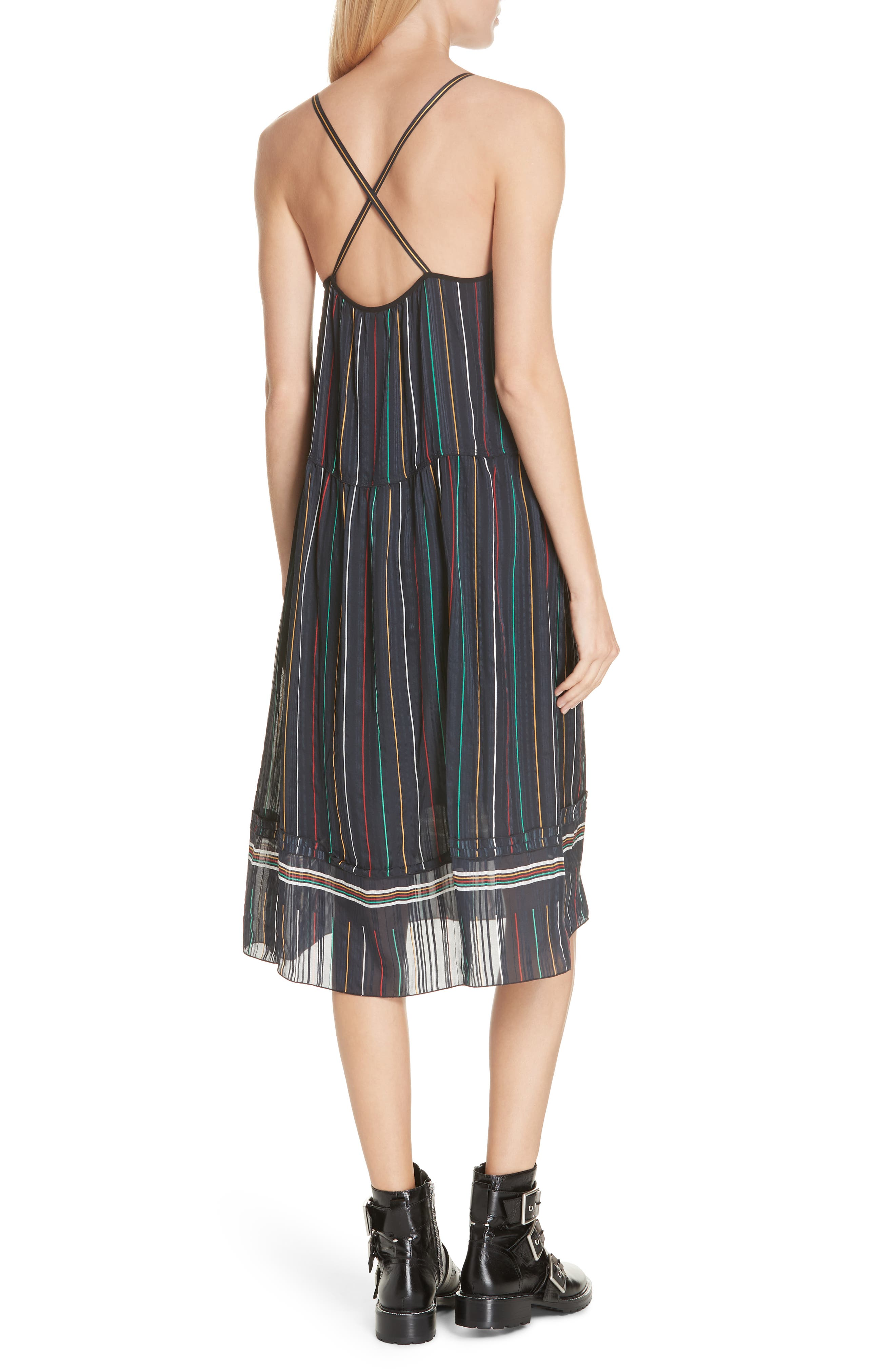 Austin Stripe Silk Midi Dress,                             Alternate thumbnail 2, color,                             BLACK STRIPE