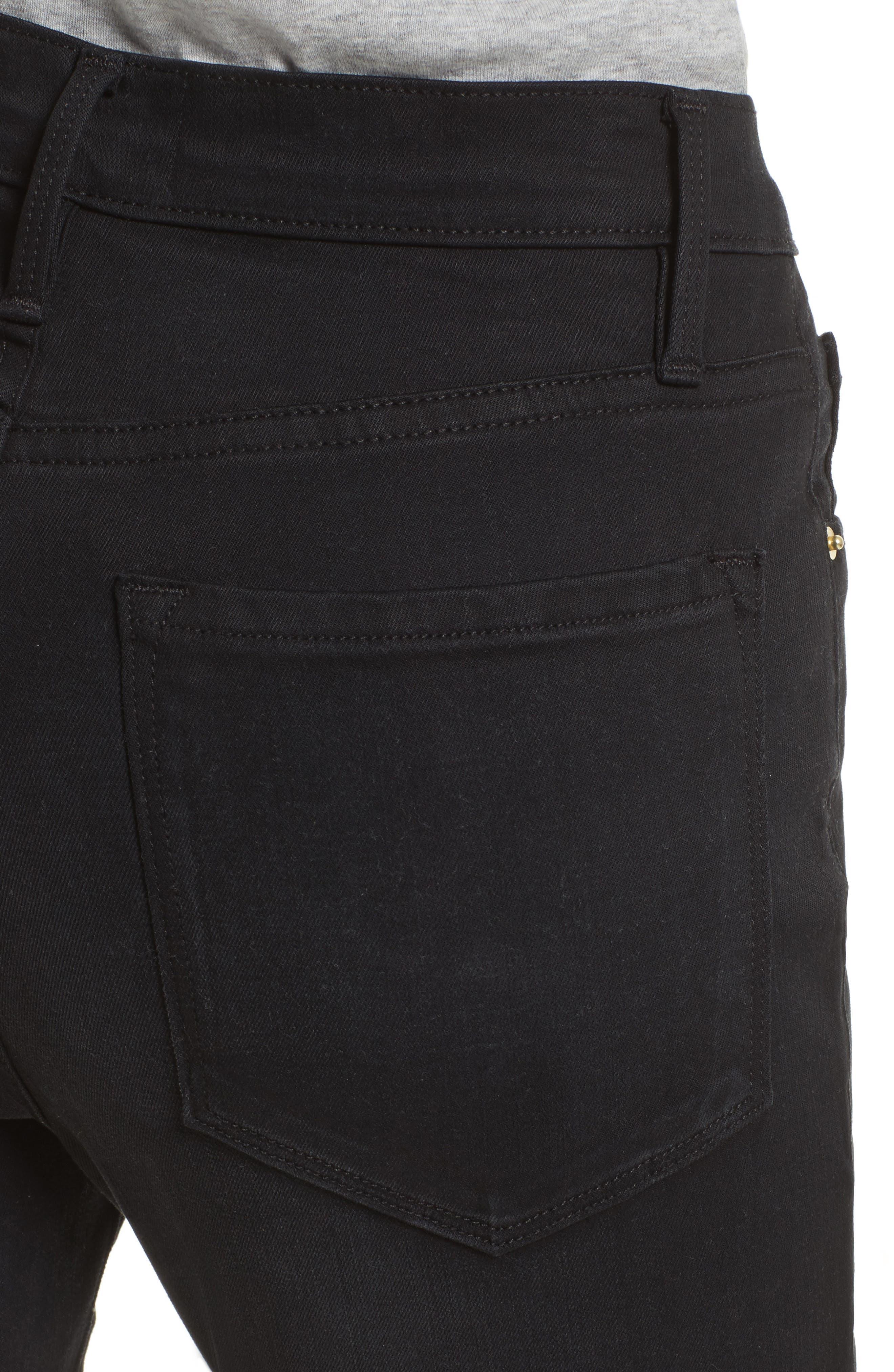 High Waist Skinny Jeans,                             Alternate thumbnail 4, color,                             NOIR