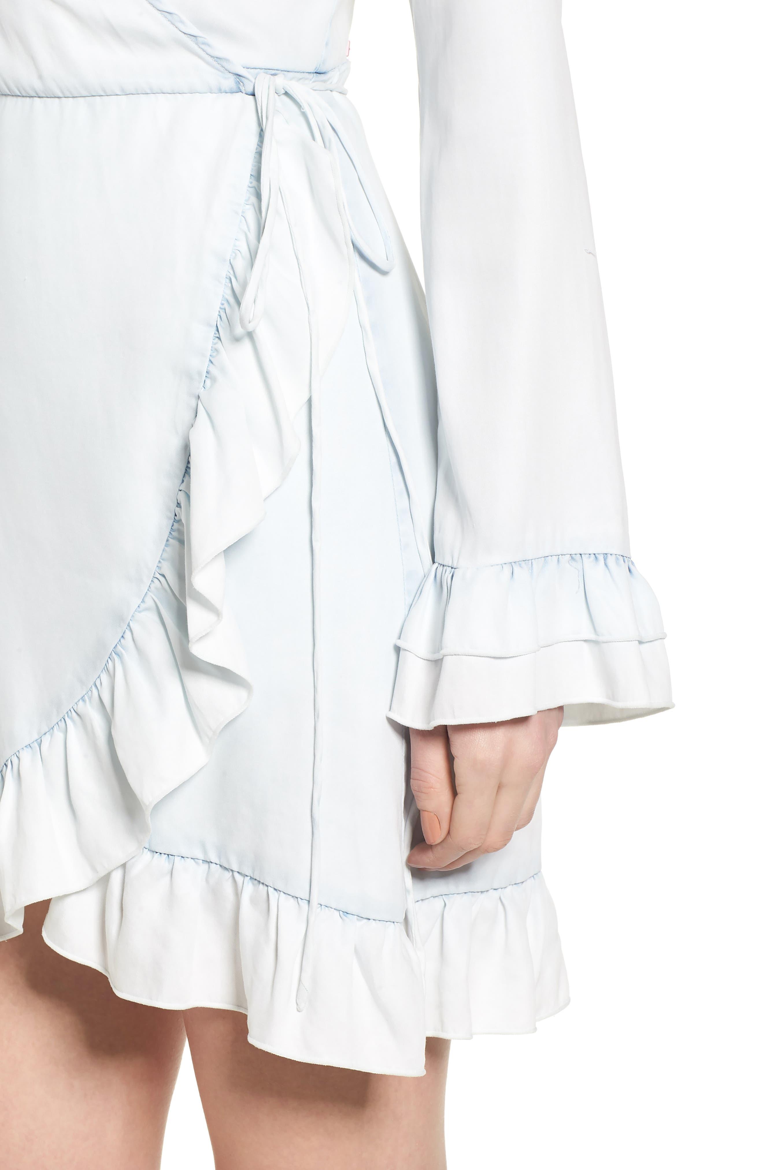 Ainsley Wrap Dress,                             Alternate thumbnail 4, color,                             IRREGULAR BLEACH