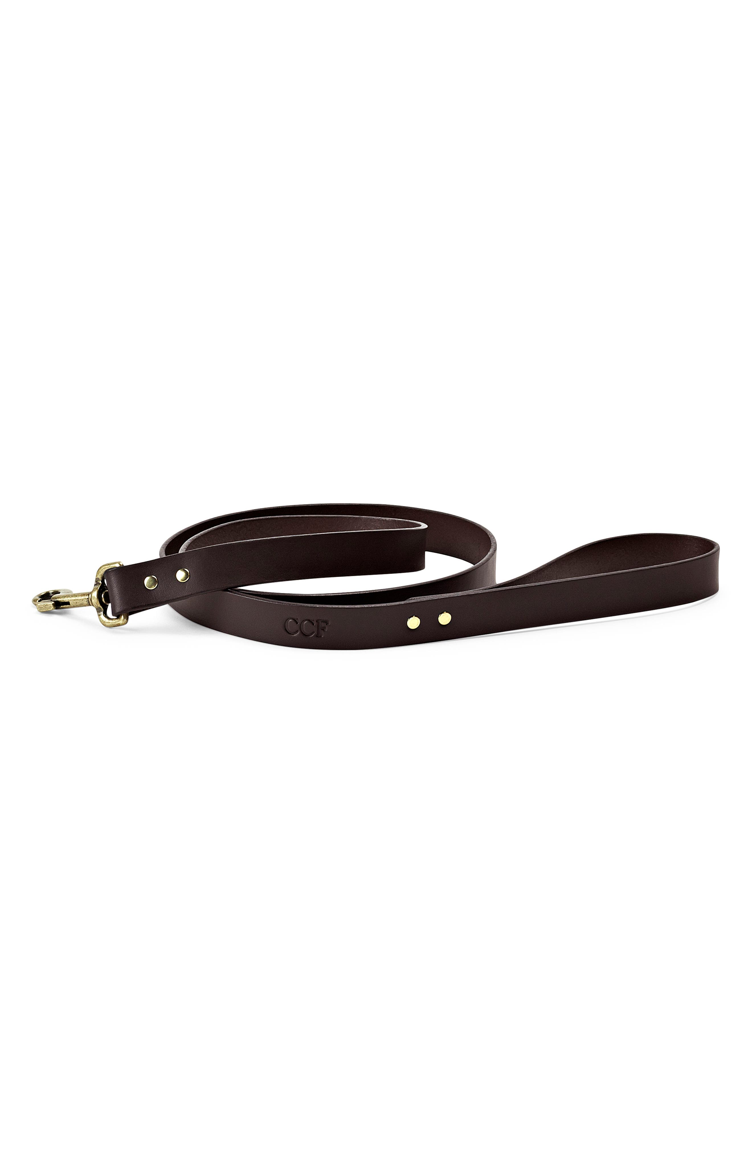 Leather Dog Leash,                             Alternate thumbnail 2, color,                             BROWN