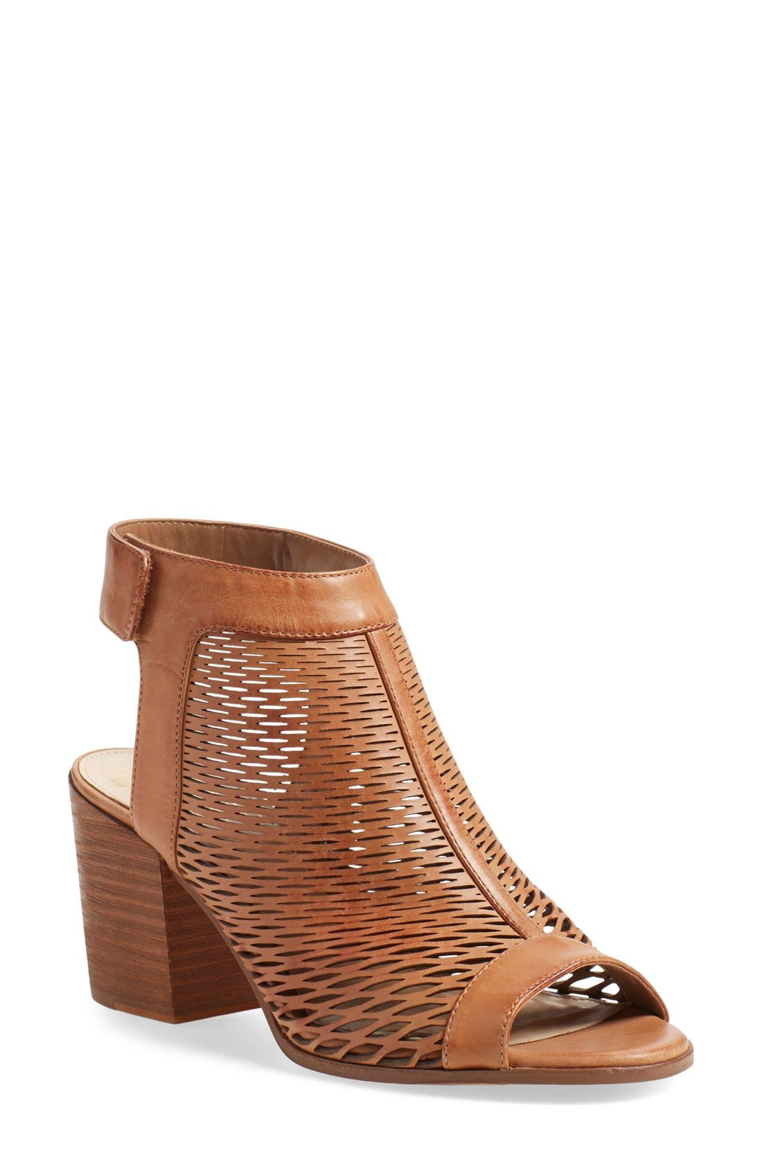 'Lavette' Perforated Peep Toe Bootie,                             Main thumbnail 4, color,