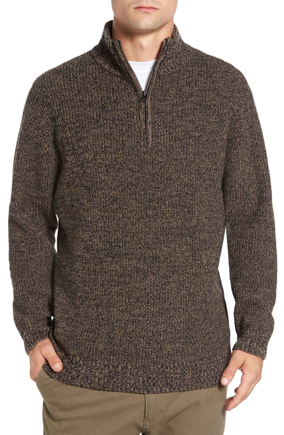'Woodglen' Herringbone Knit Lambswool Quarter Zip Sweater,                             Main thumbnail 1, color,                             200