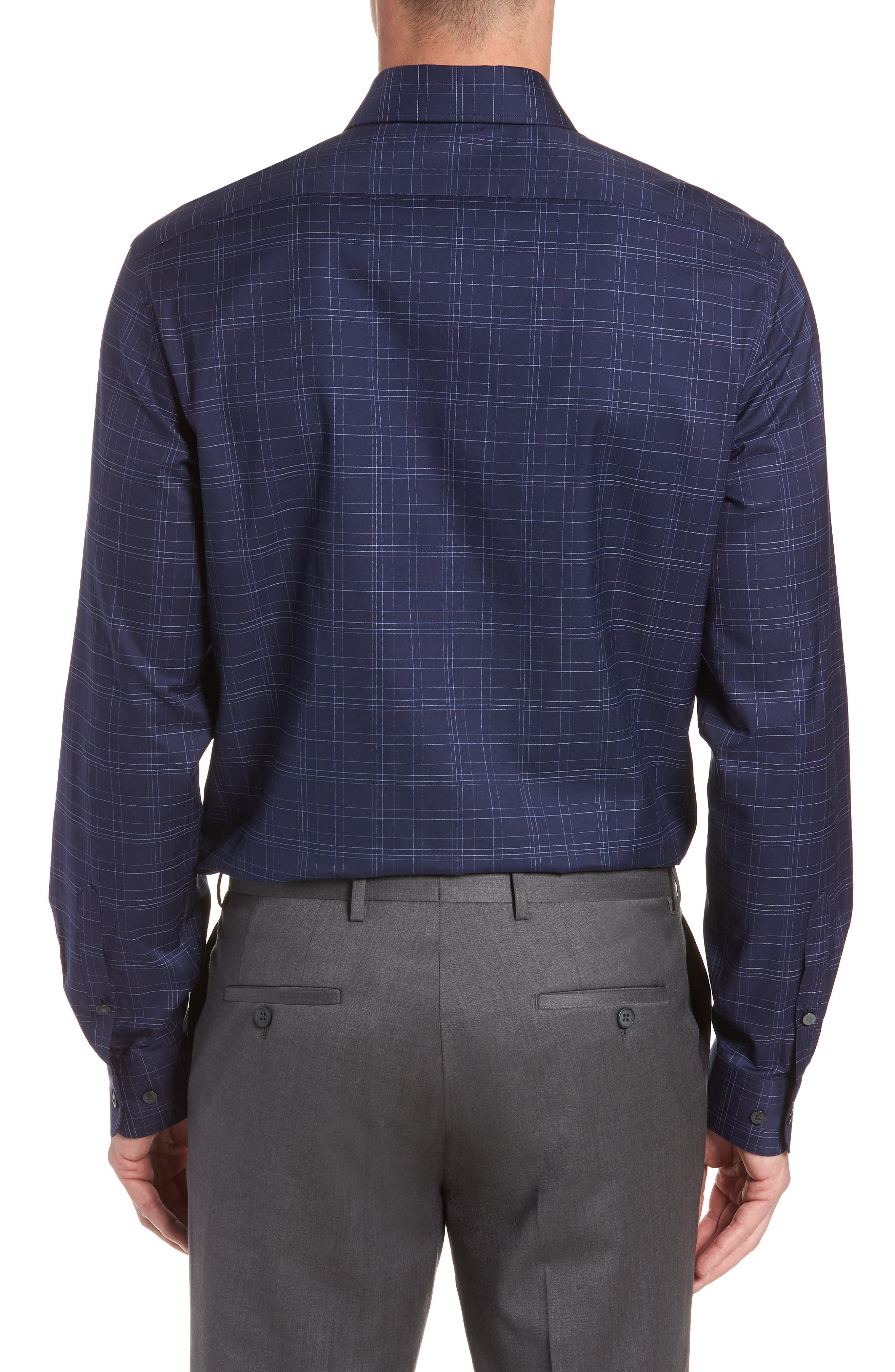 Windowpane Plaid Regular Fit Dress Shirt,                             Alternate thumbnail 3, color,                             INDIGO