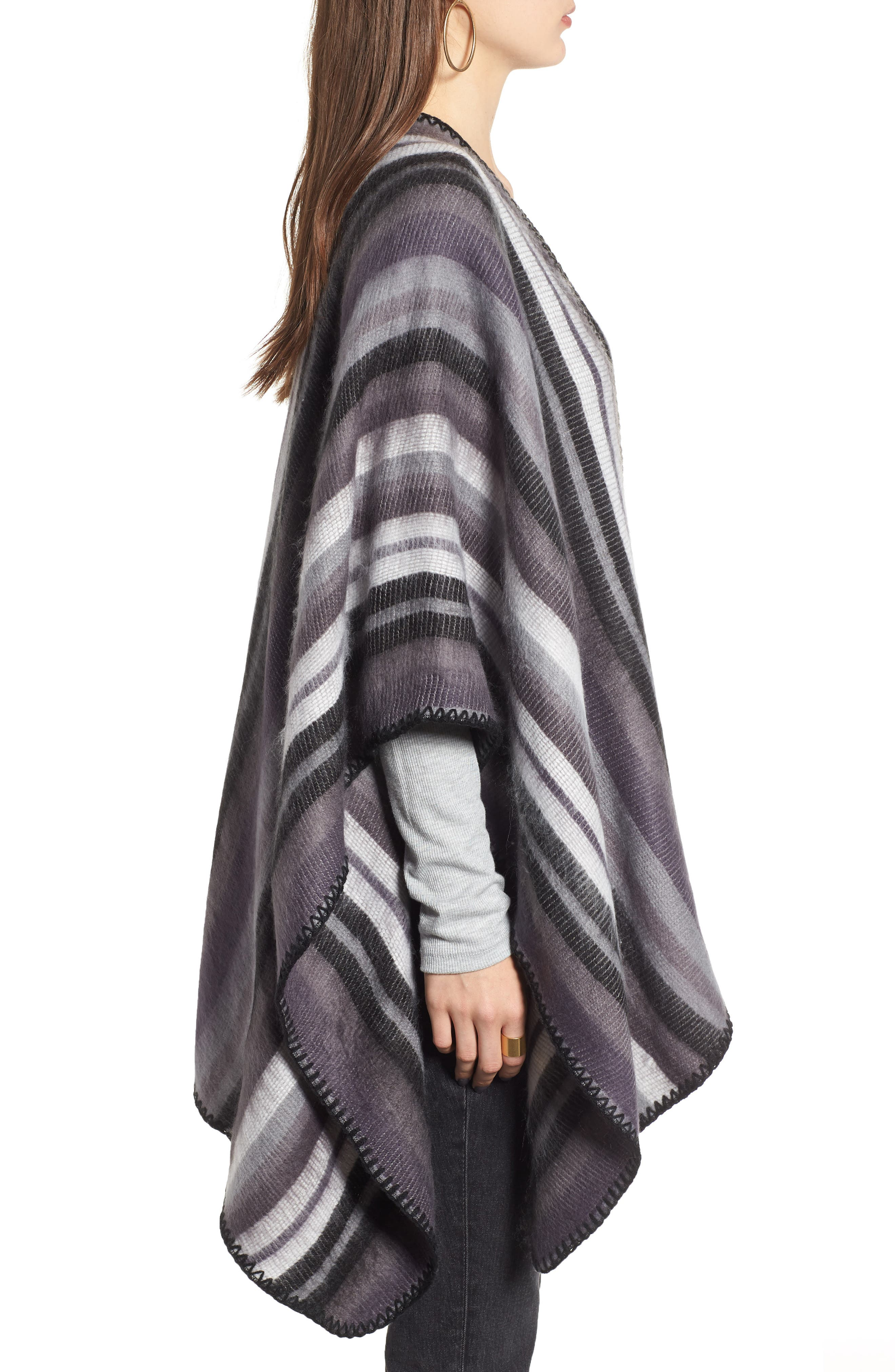 Stripe Blanket Wrap,                             Alternate thumbnail 3, color,                             BLACK COMBO