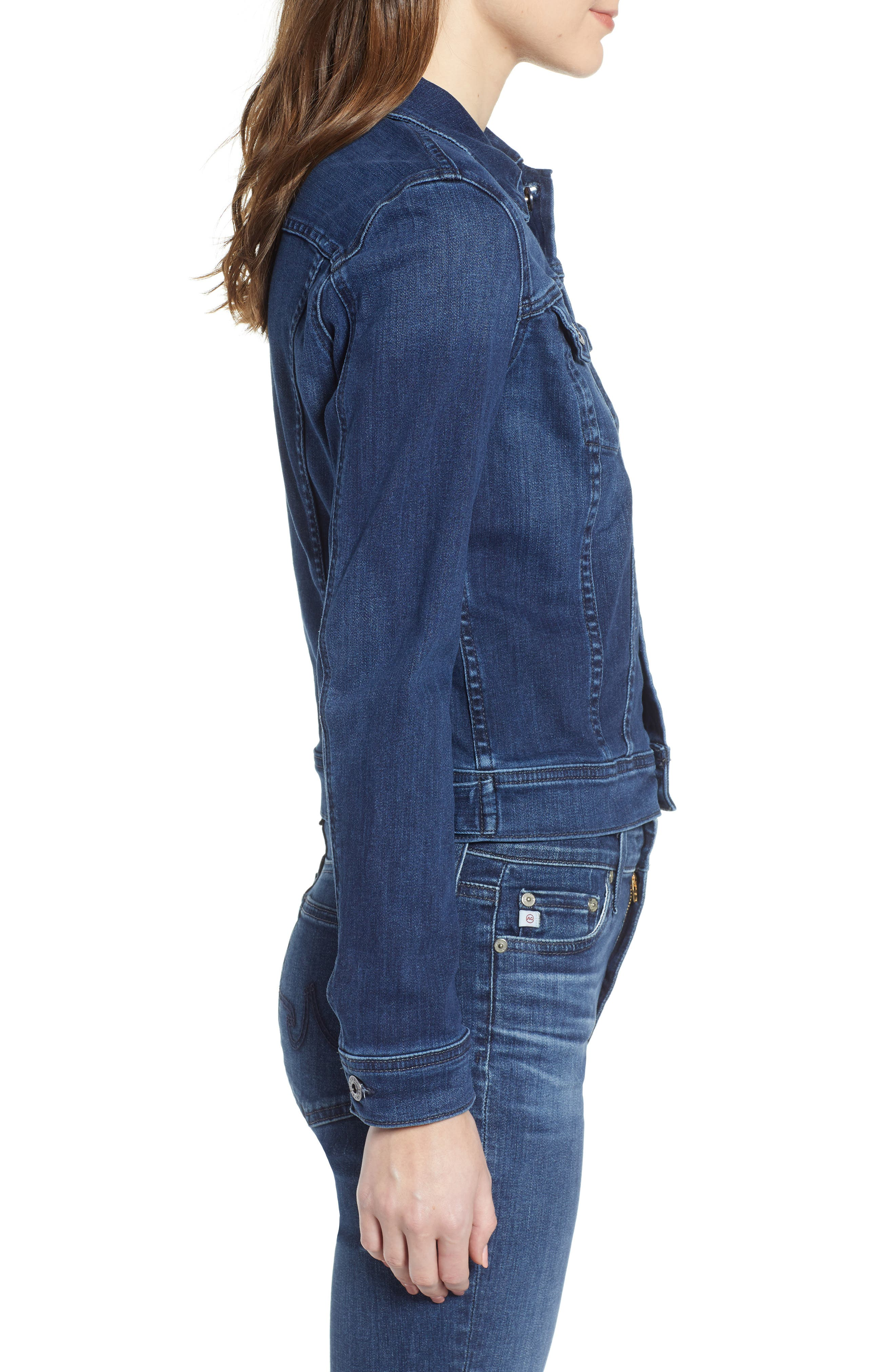 Robyn Crop Denim Jacket,                             Alternate thumbnail 3, color,                             PINNACLE BLUE