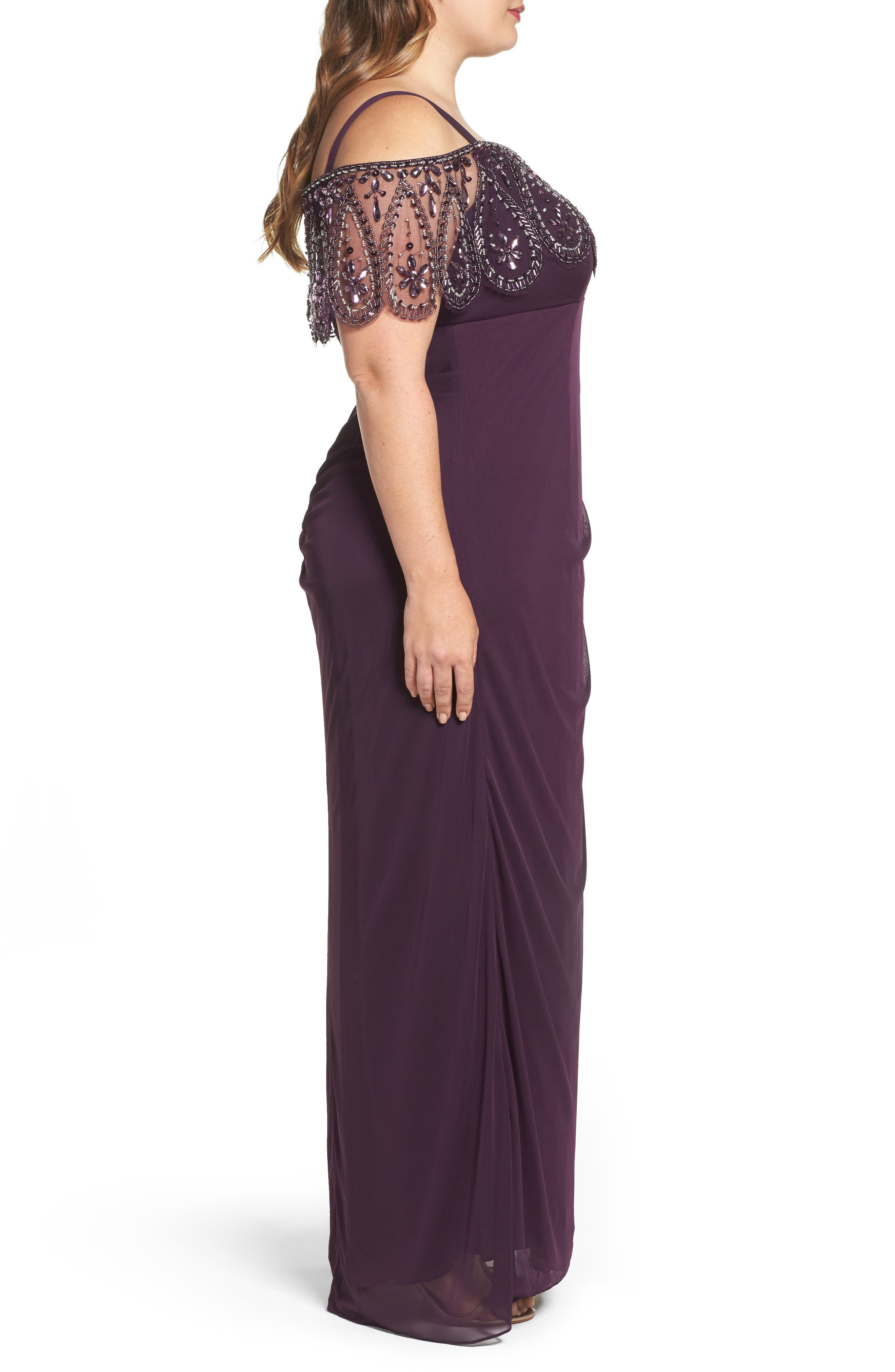 Beaded Cold Shoulder Gown,                             Alternate thumbnail 3, color,                             518