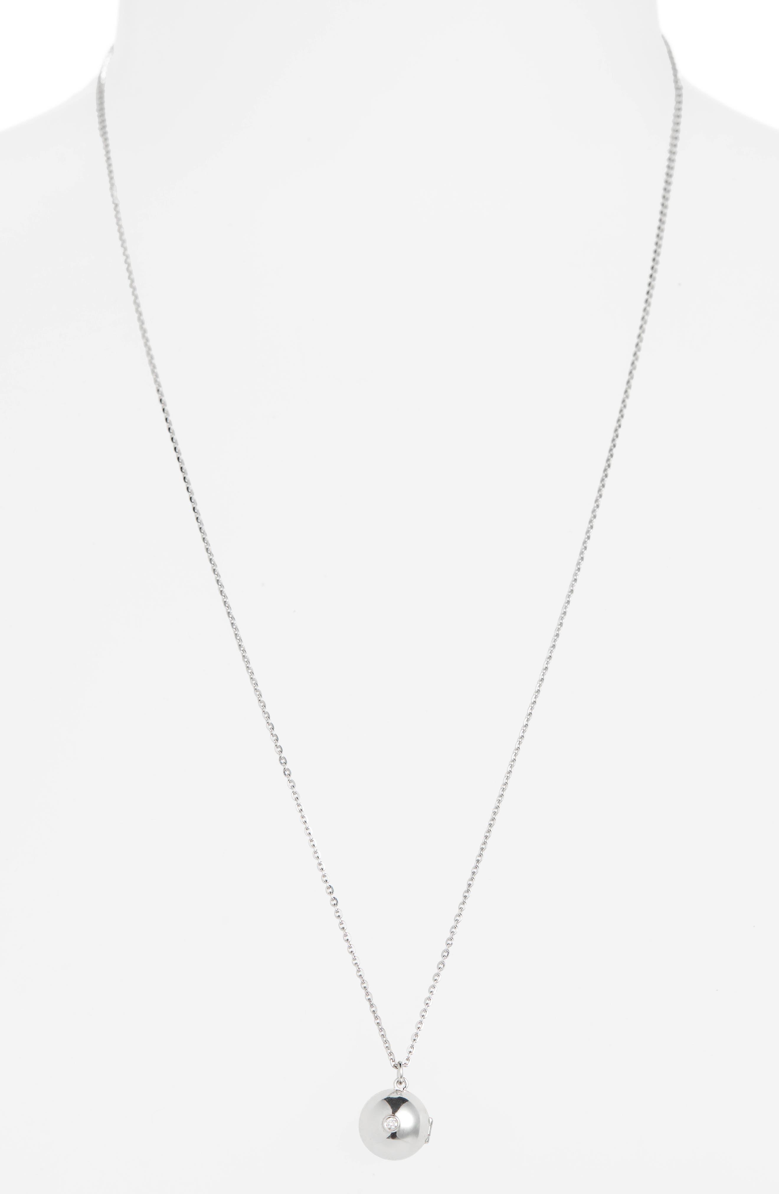 Boob Diamond Locket Necklace,                             Alternate thumbnail 3, color,                             SILVER