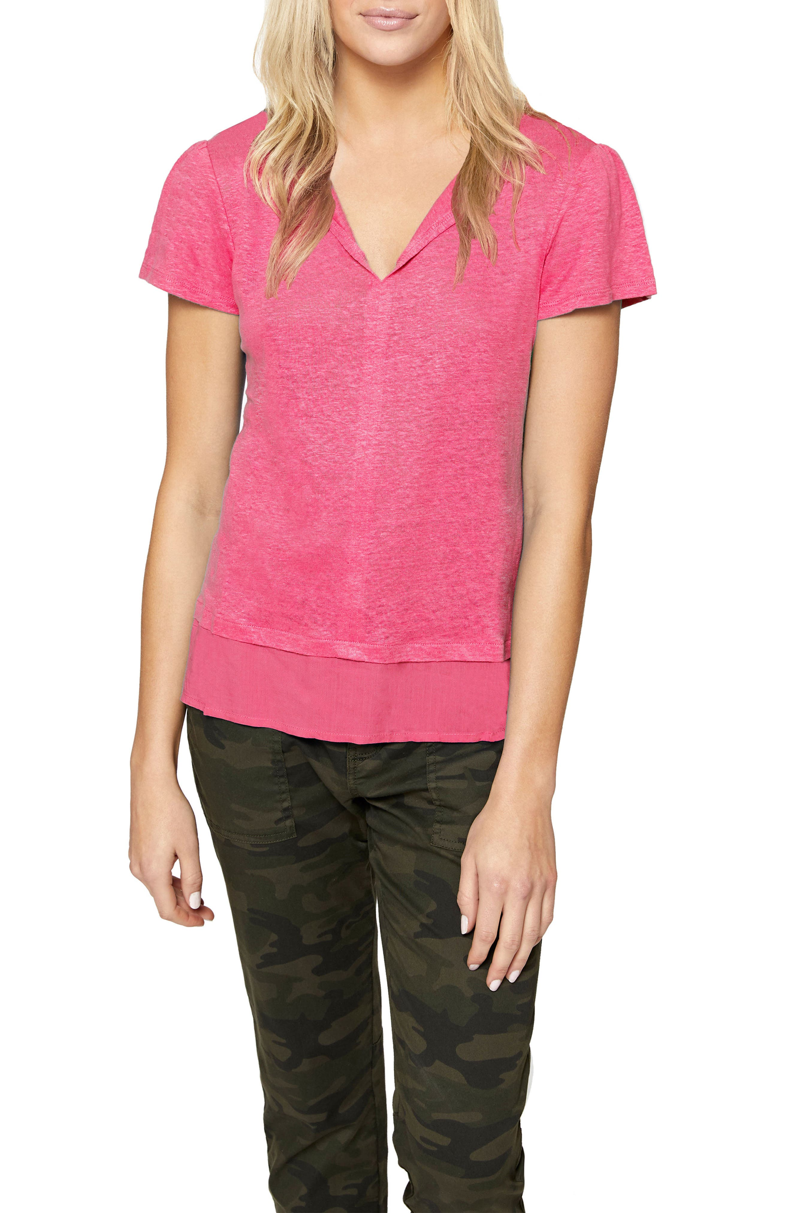 Uptown Tiered Hem Linen Tee,                             Main thumbnail 1, color,                             CAMELLIA