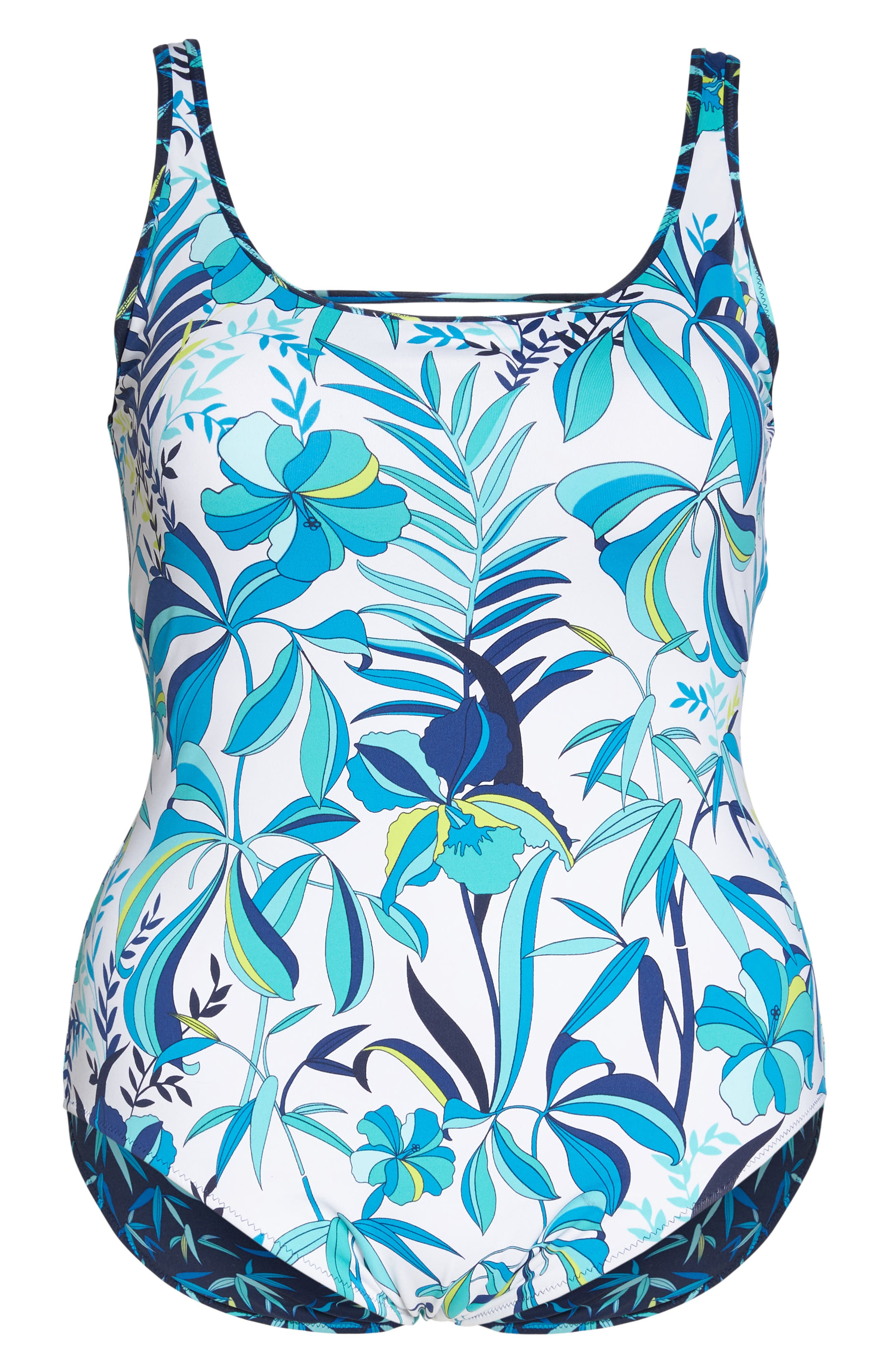Tropical Swirl Reversible One-Piece Swimsuit,                             Alternate thumbnail 7, color,                             100