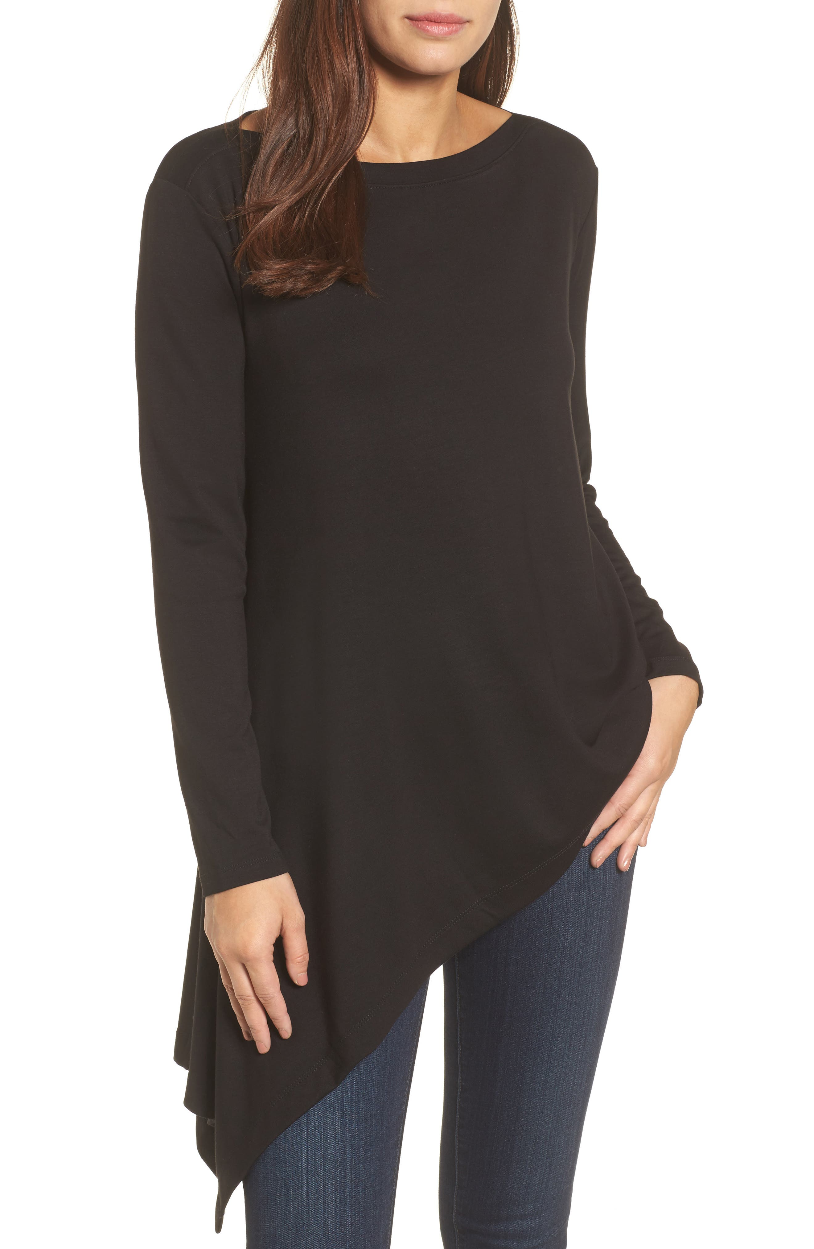 Boatneck Asymmetrical Tunic,                             Main thumbnail 1, color,                             BLACK