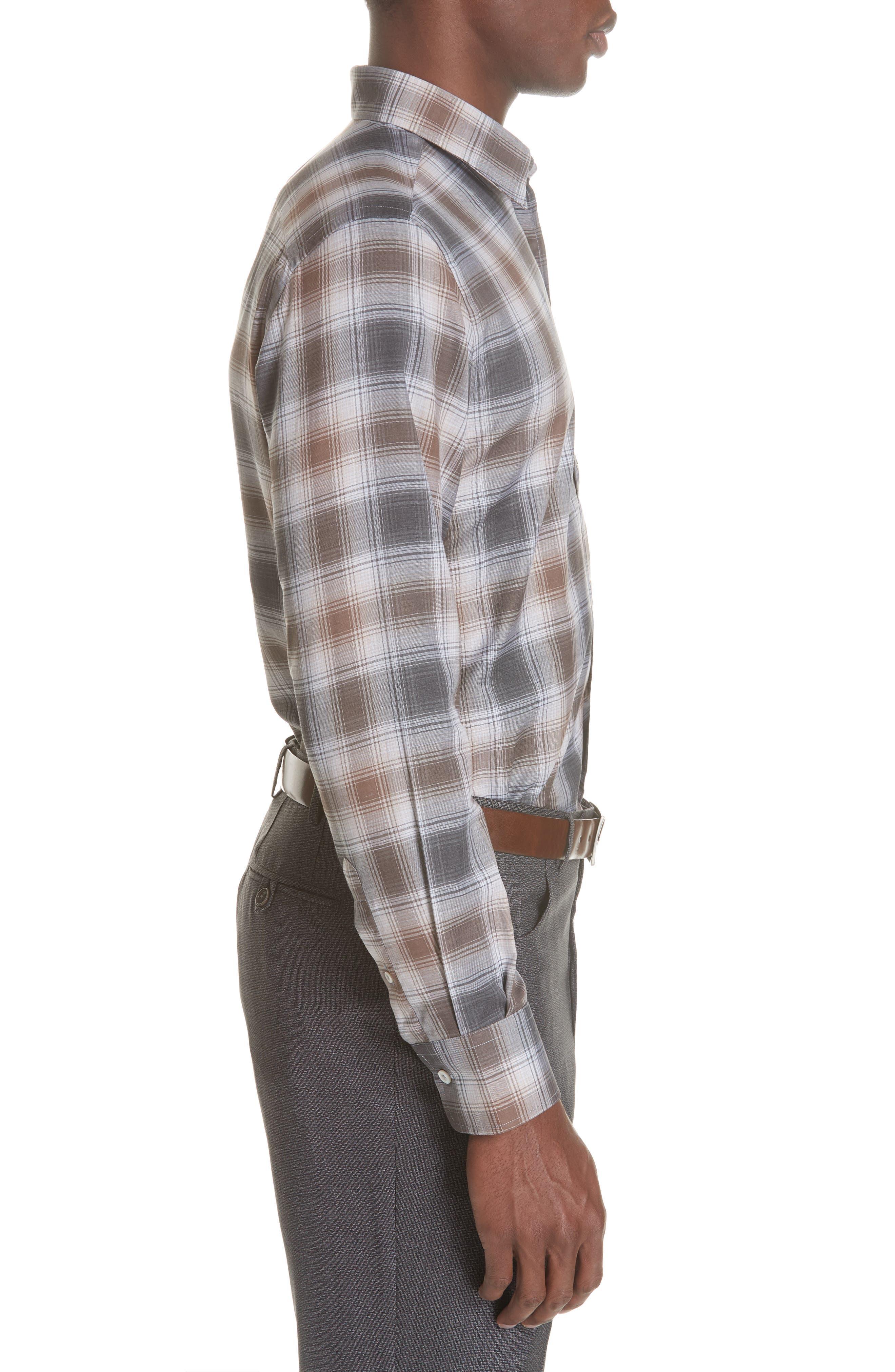 Regular Fit Plaid Dress Shirt,                             Alternate thumbnail 4, color,                             BROWN