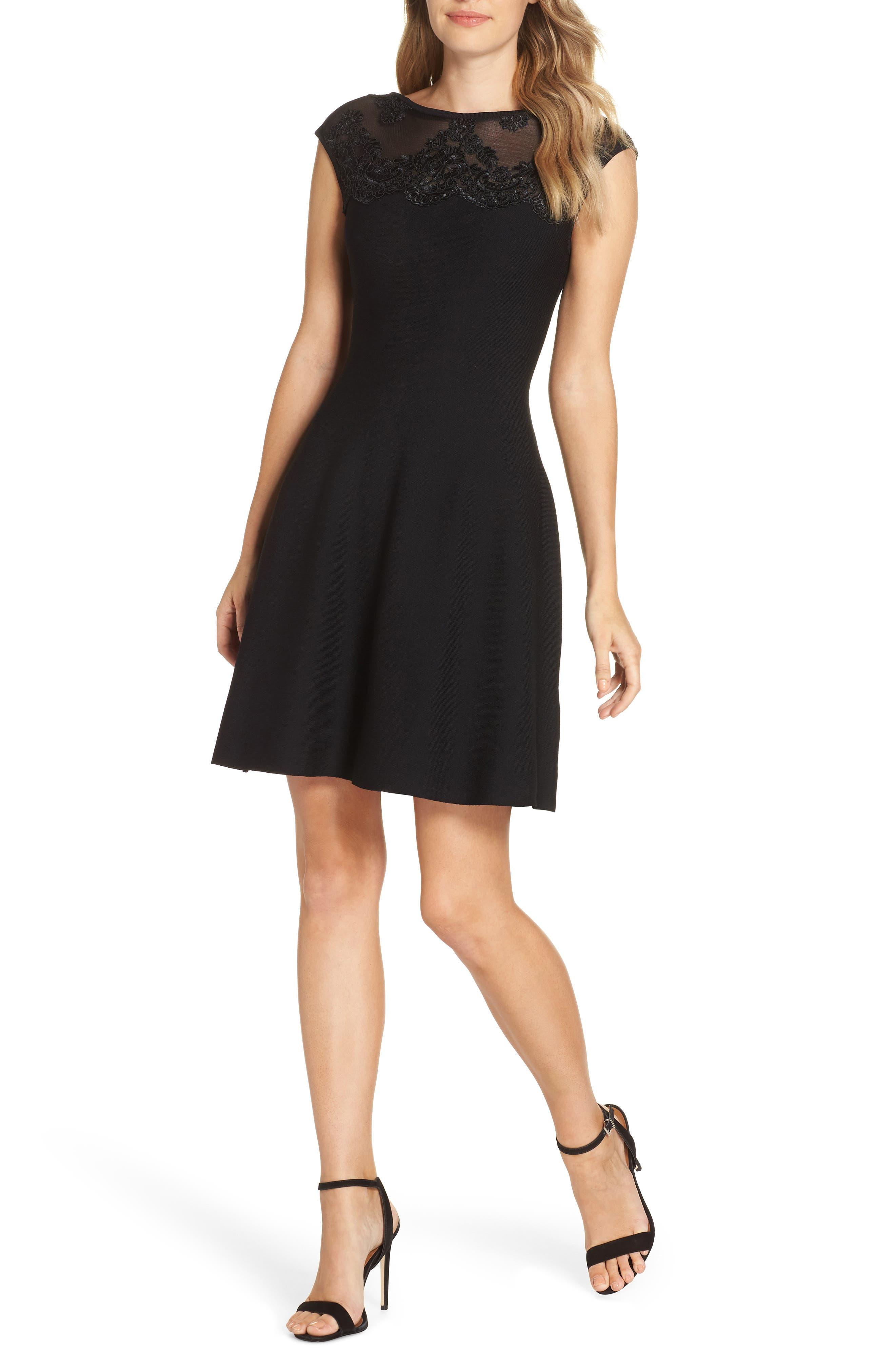 Eliza J Lace Trim A-Line Sweater Dress, Black